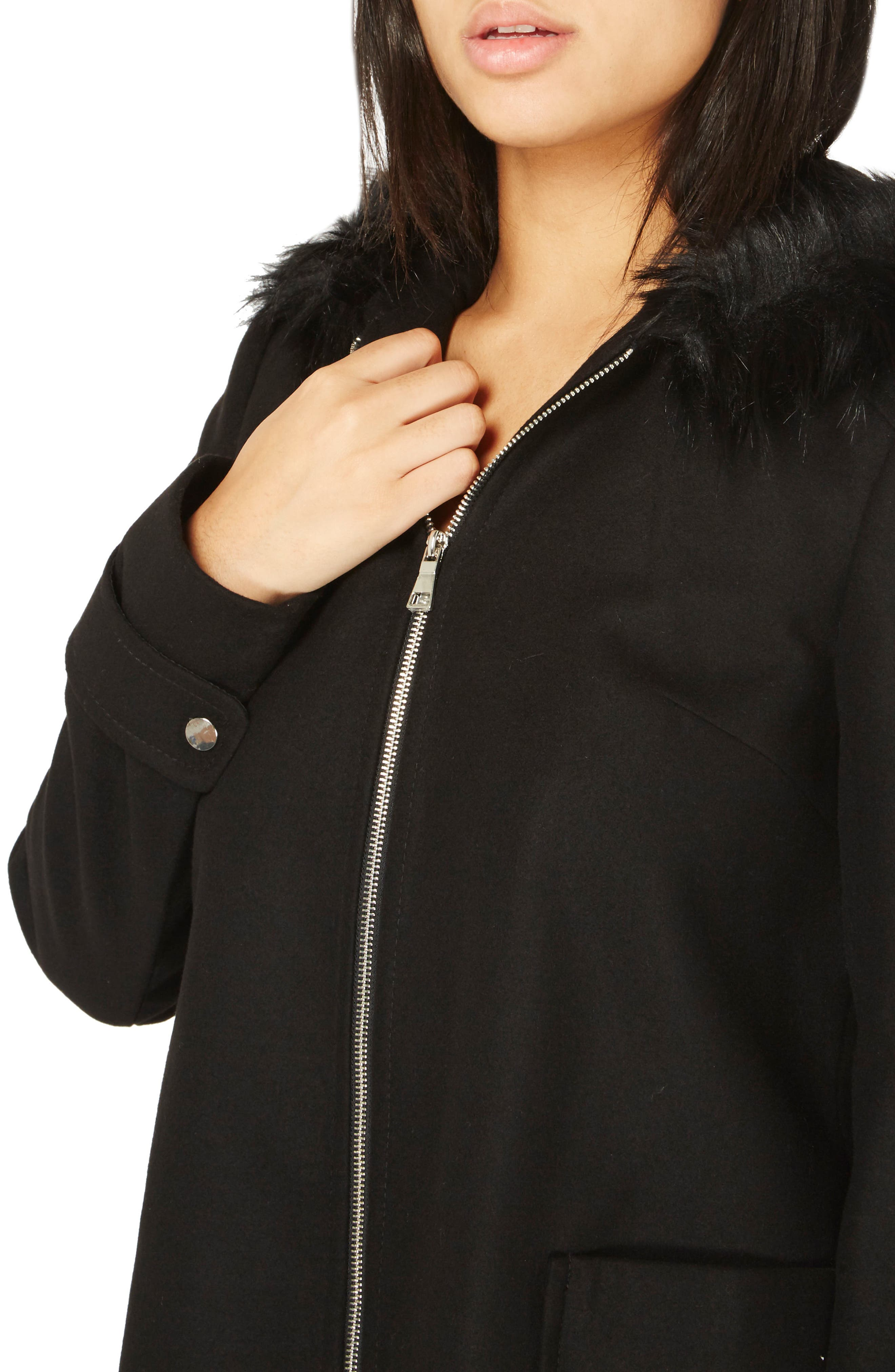 Hooded Duffle Coat with Faux Fur Trim,                             Alternate thumbnail 3, color,                             Black