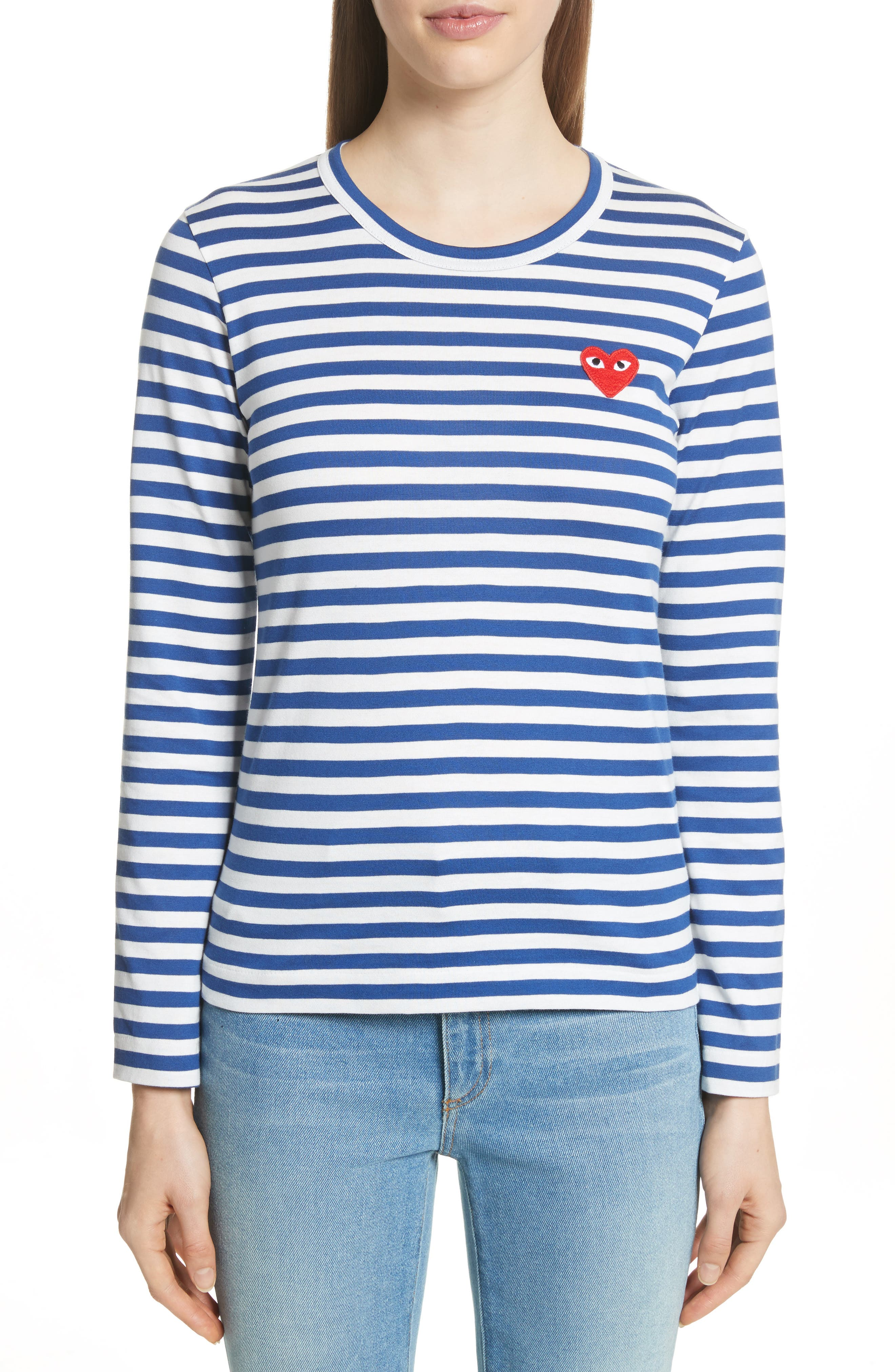 Comme des Garçons PLAY Stripe Cotton Tee,                             Main thumbnail 1, color,                             Navy/ White