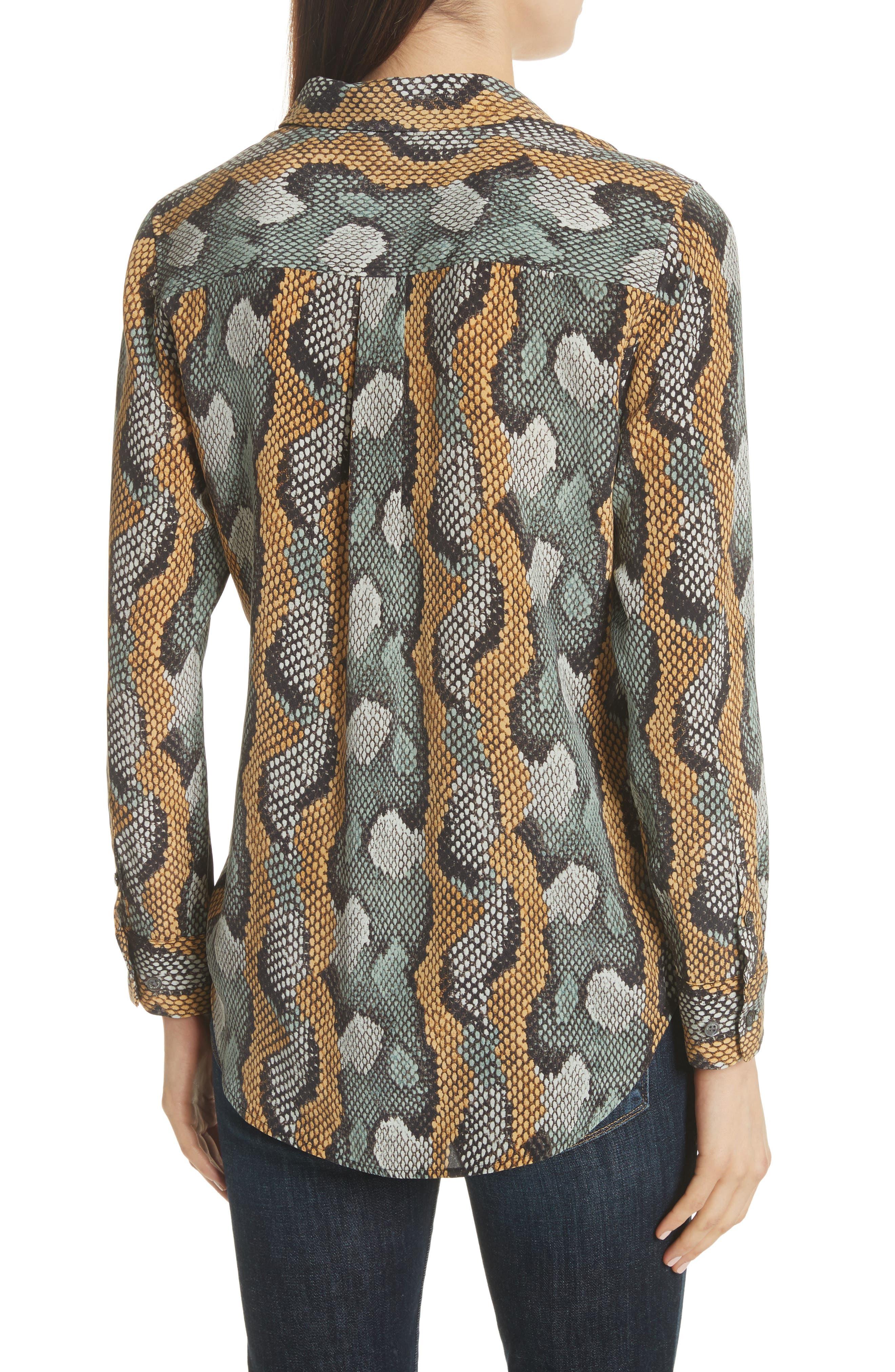 Slim Signature Python Print Silk Shirt,                             Alternate thumbnail 2, color,                             Olive Branch Multi