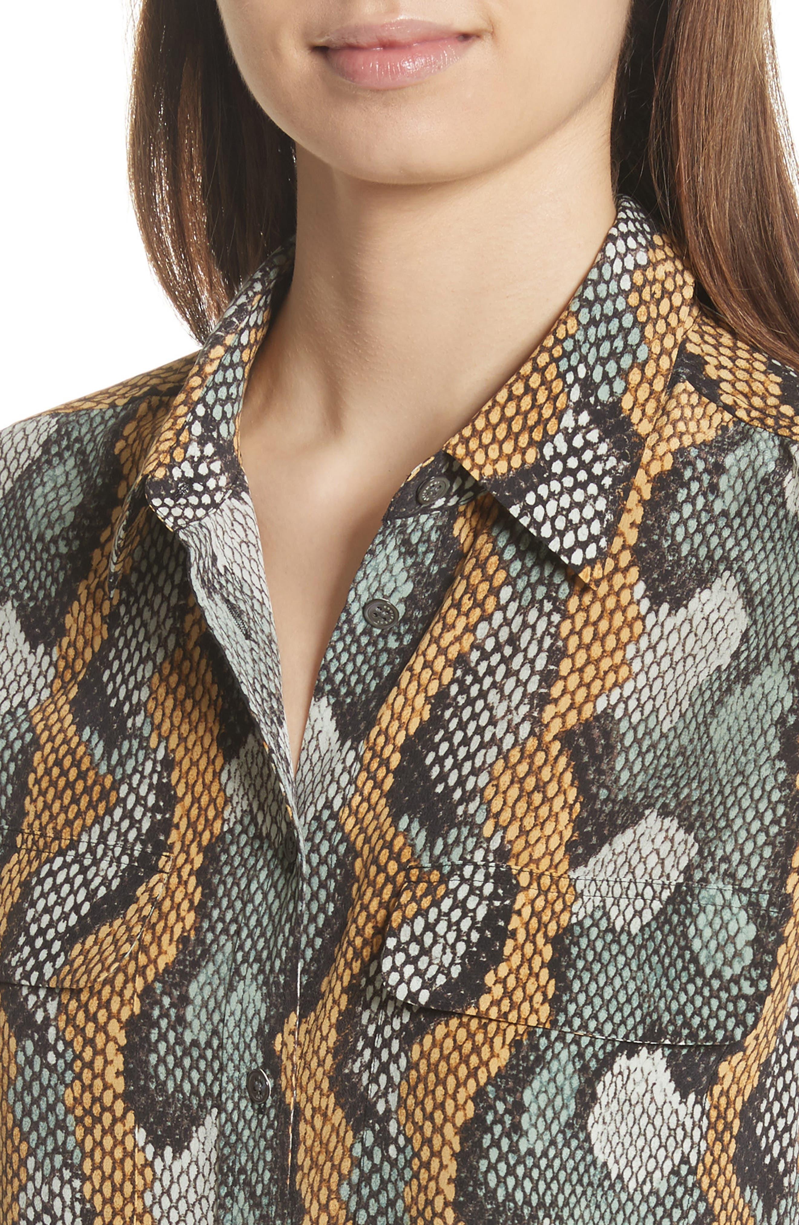 Slim Signature Python Print Silk Shirt,                             Alternate thumbnail 4, color,                             Olive Branch Multi