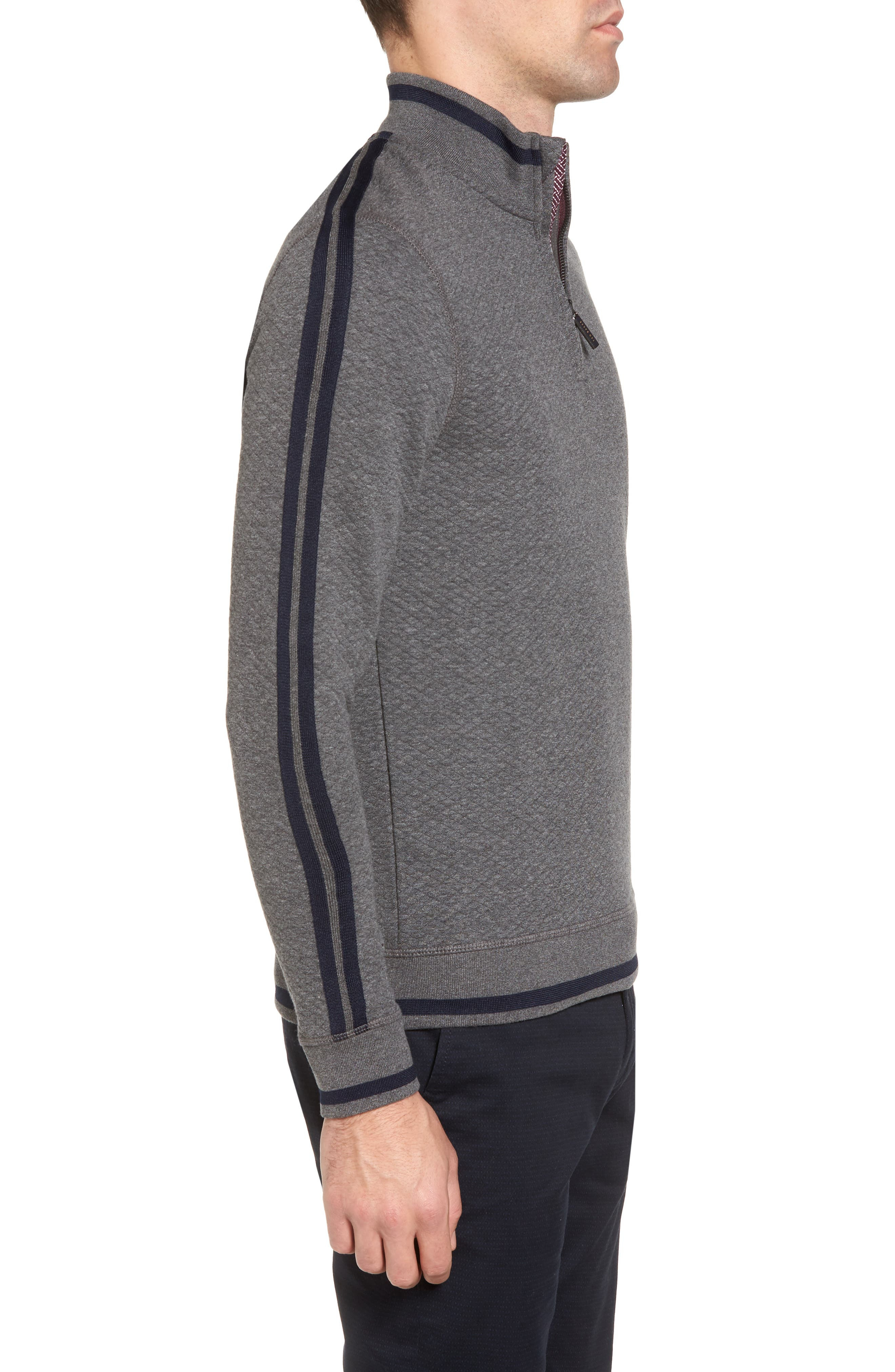Sidney Quilted Quarter Zip Sweatshirt,                             Alternate thumbnail 3, color,                             Charcaol