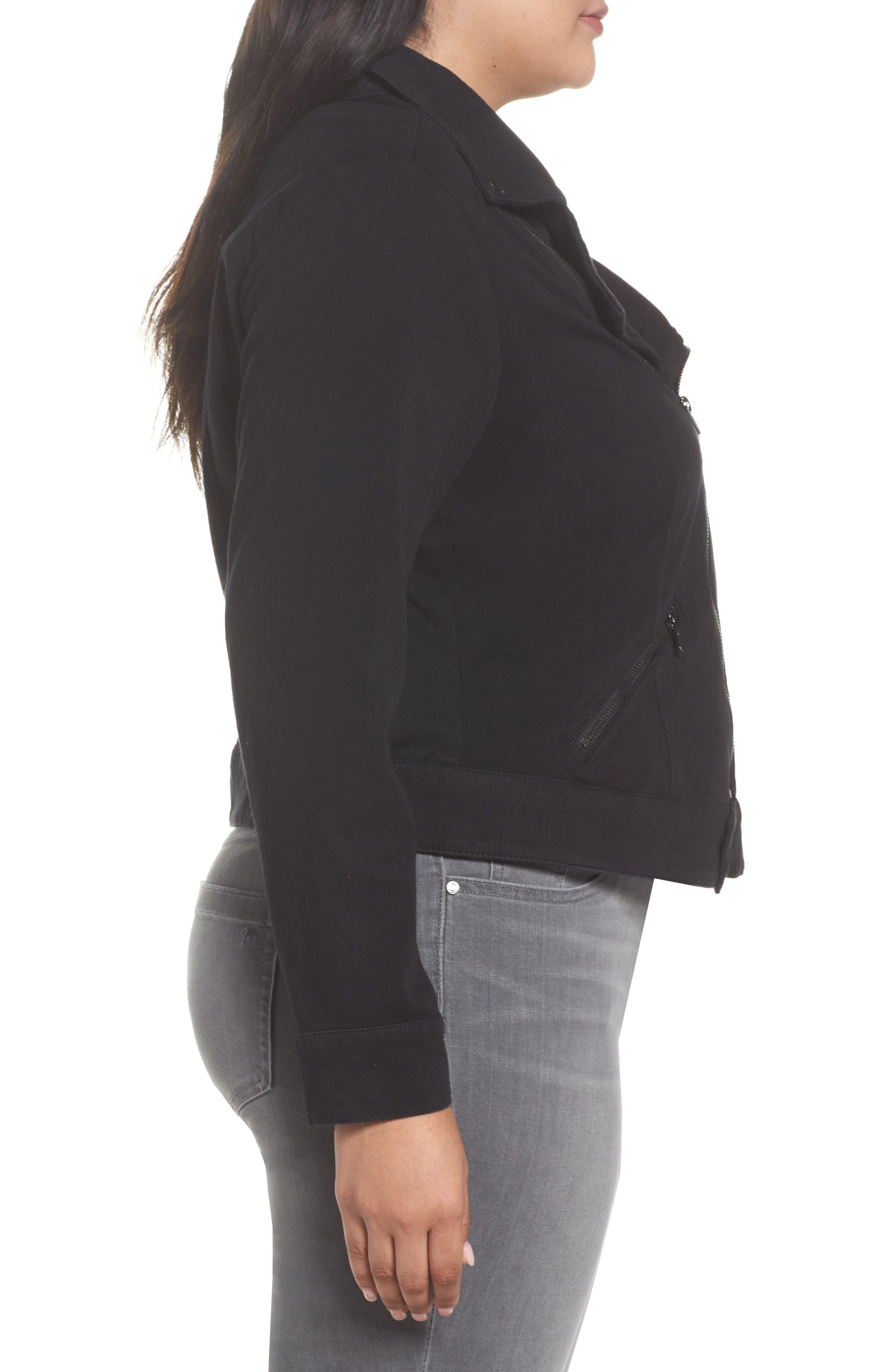 Alternate Image 3  - Liverpool Jeans Company Zip Knit Moto Jacket (Plus Size)