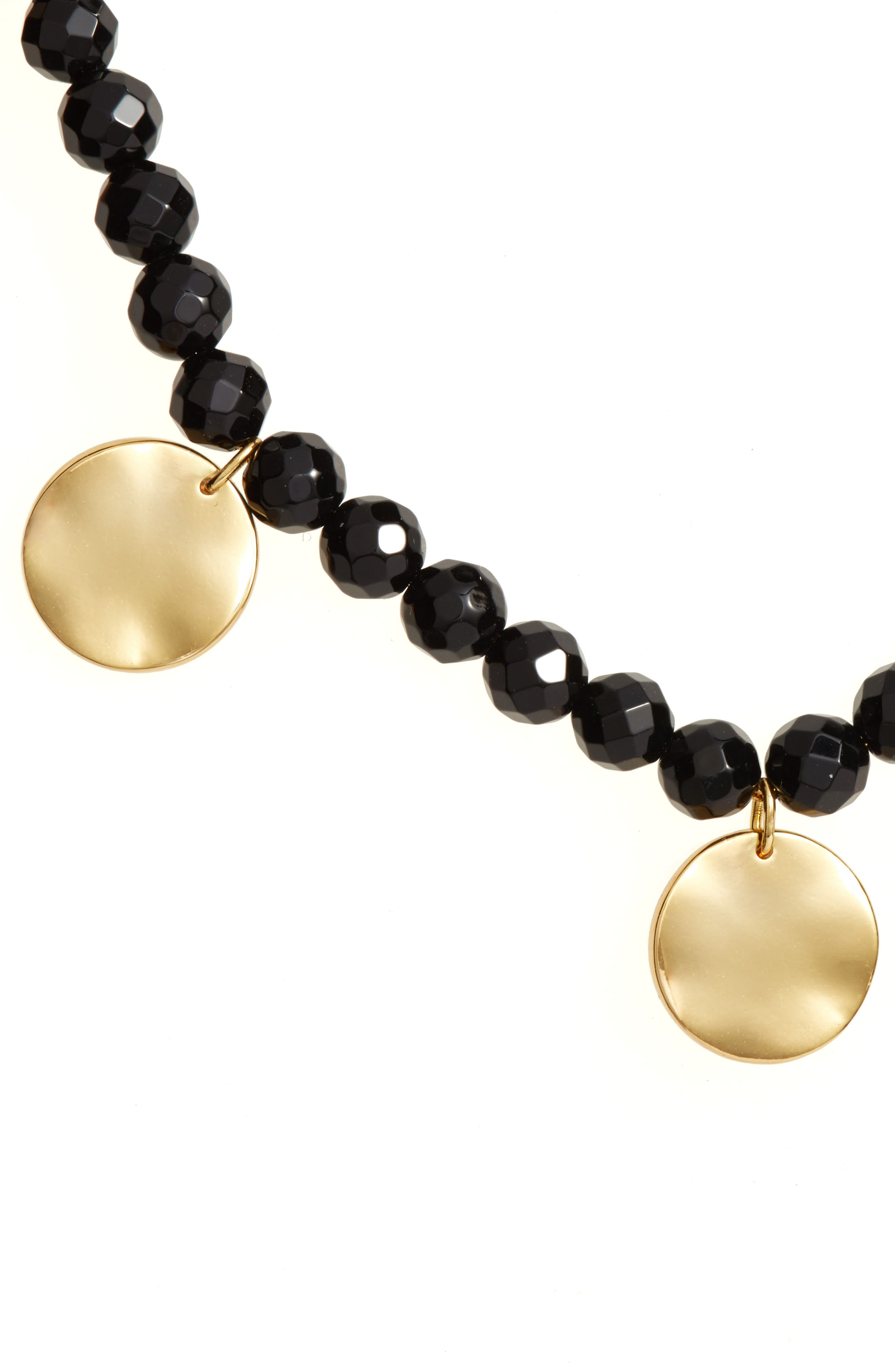 Adjustable Necklace,                             Alternate thumbnail 3, color,                             Black Onyx/ Gold