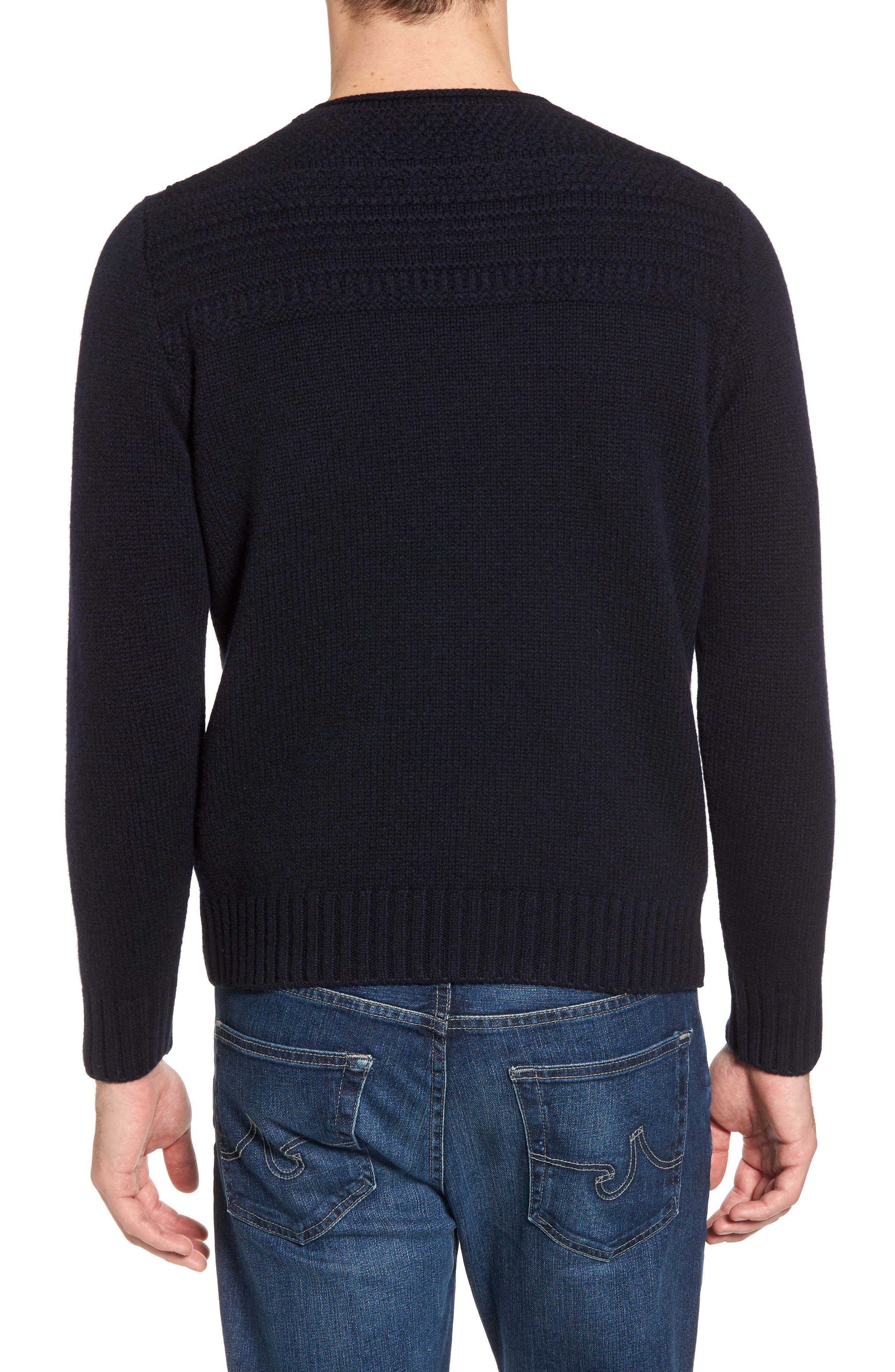Roll Neck Wool Sweater,                             Alternate thumbnail 2, color,                             Navy