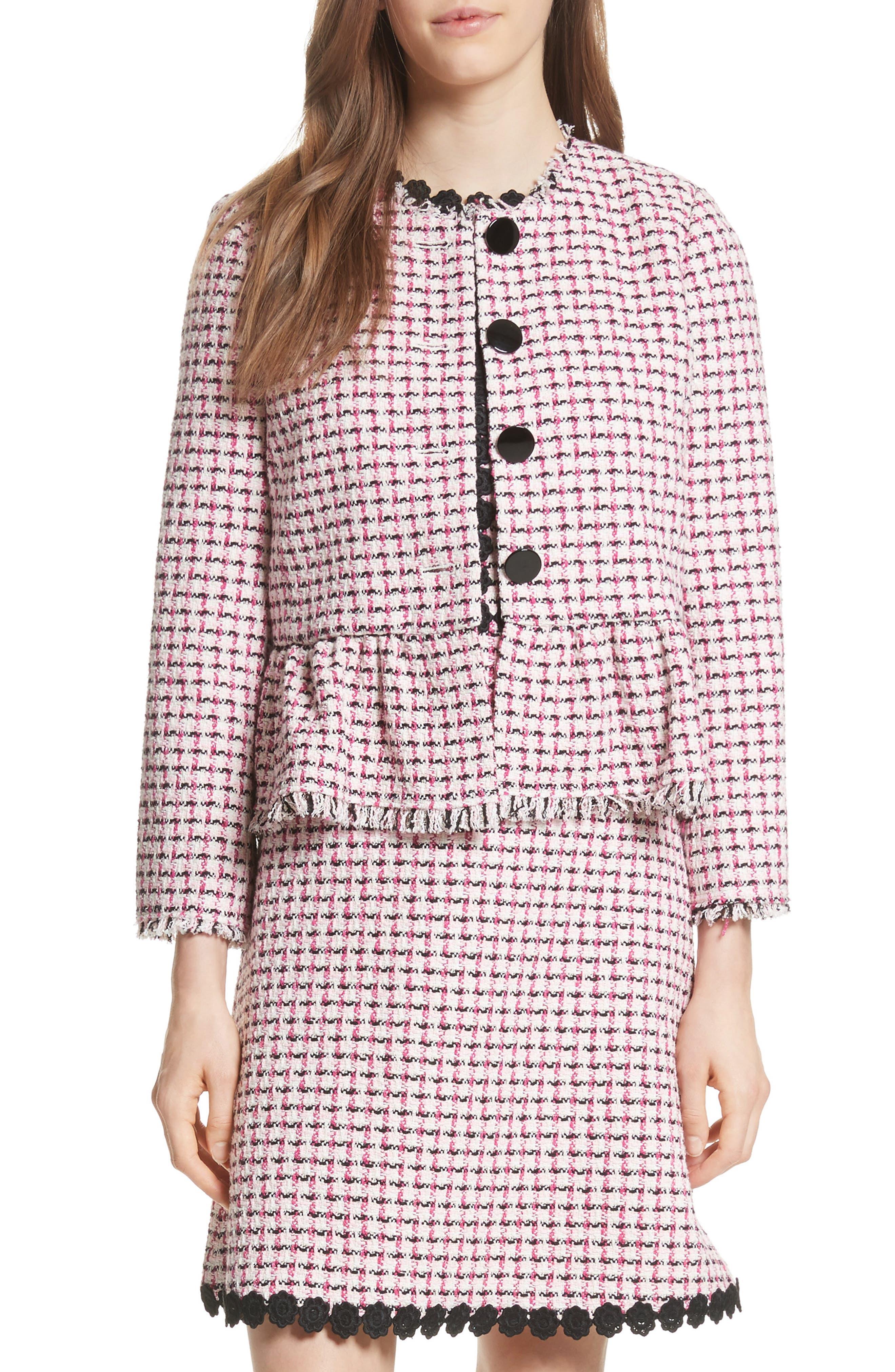 tweed peplum jacket,                         Main,                         color, Multi