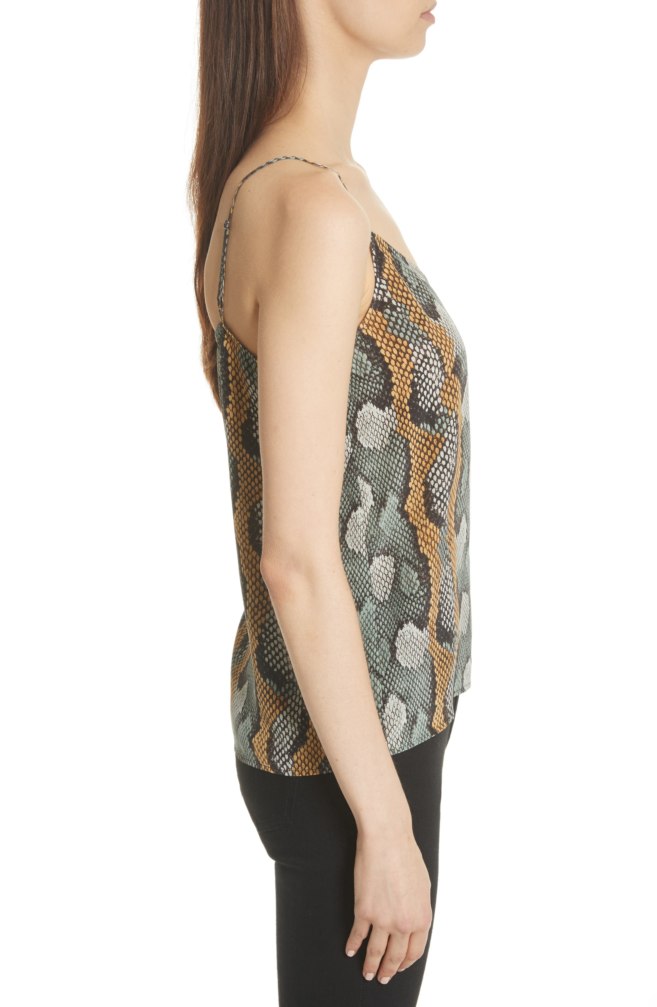 Layla Print Silk Camisole,                             Alternate thumbnail 3, color,                             Olive Branch Multi