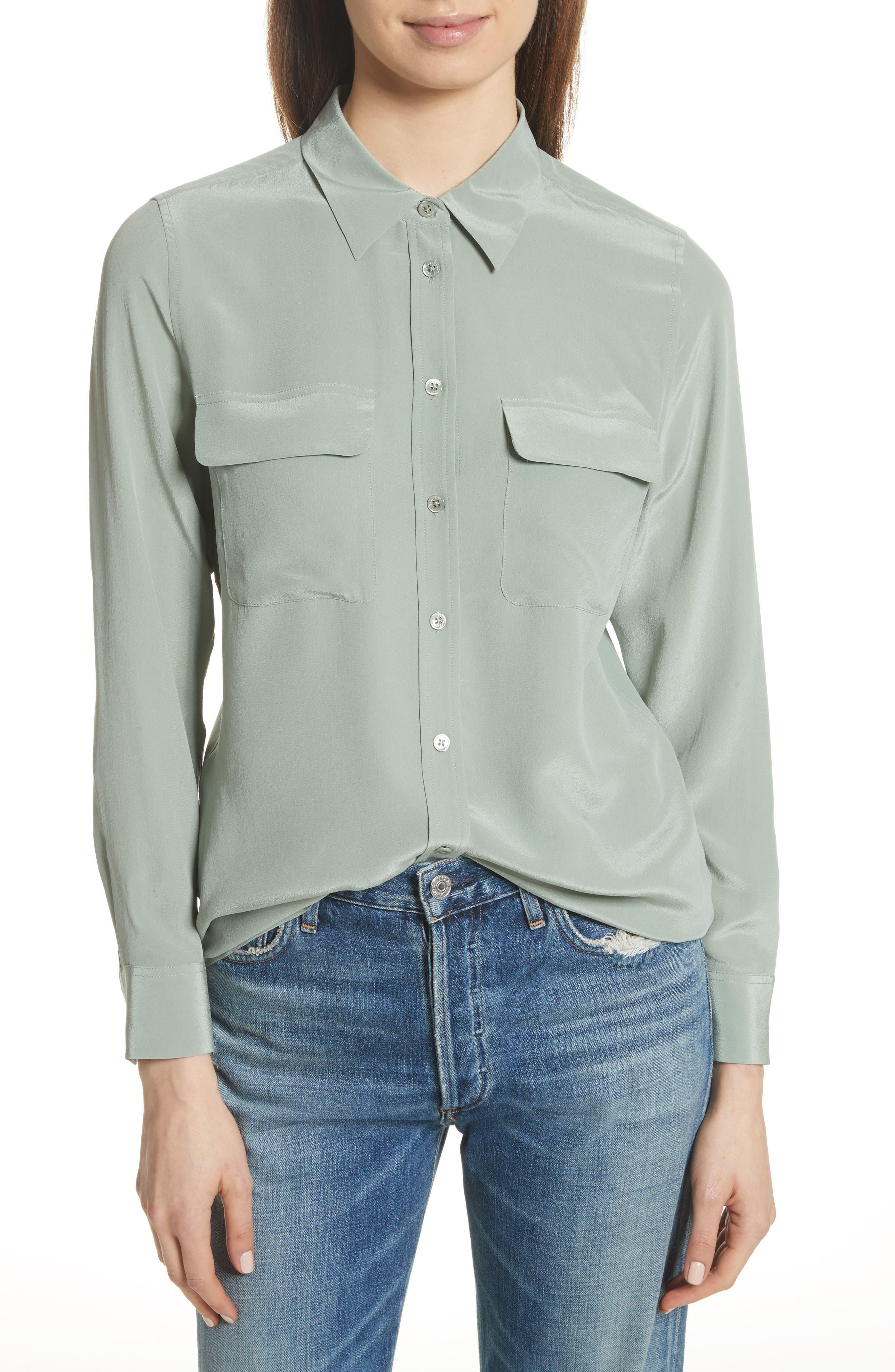Slim Signature Silk Shirt,                         Main,                         color, Olive Branch