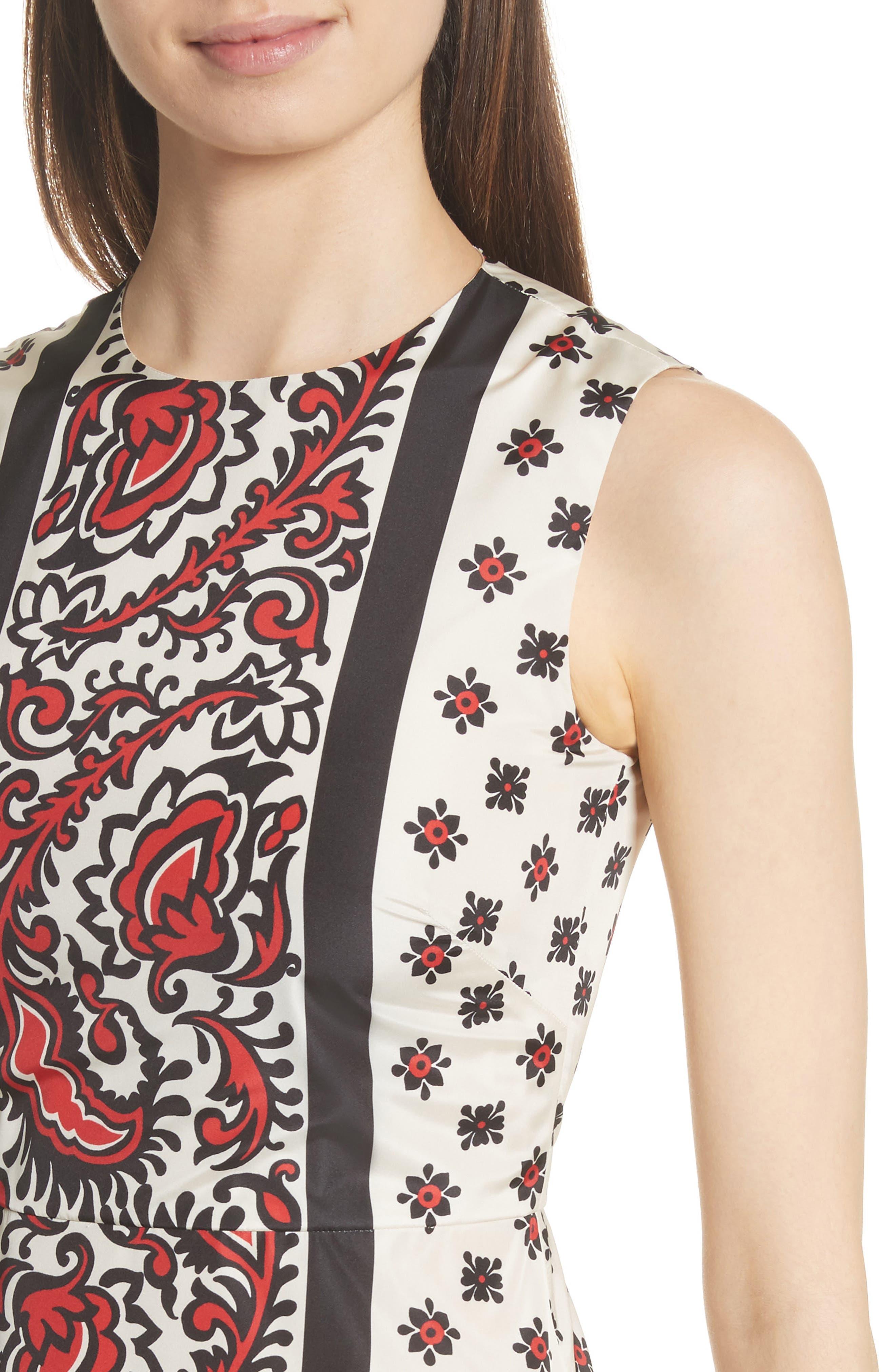 Print A-Line Dress,                             Alternate thumbnail 4, color,                             Cherry