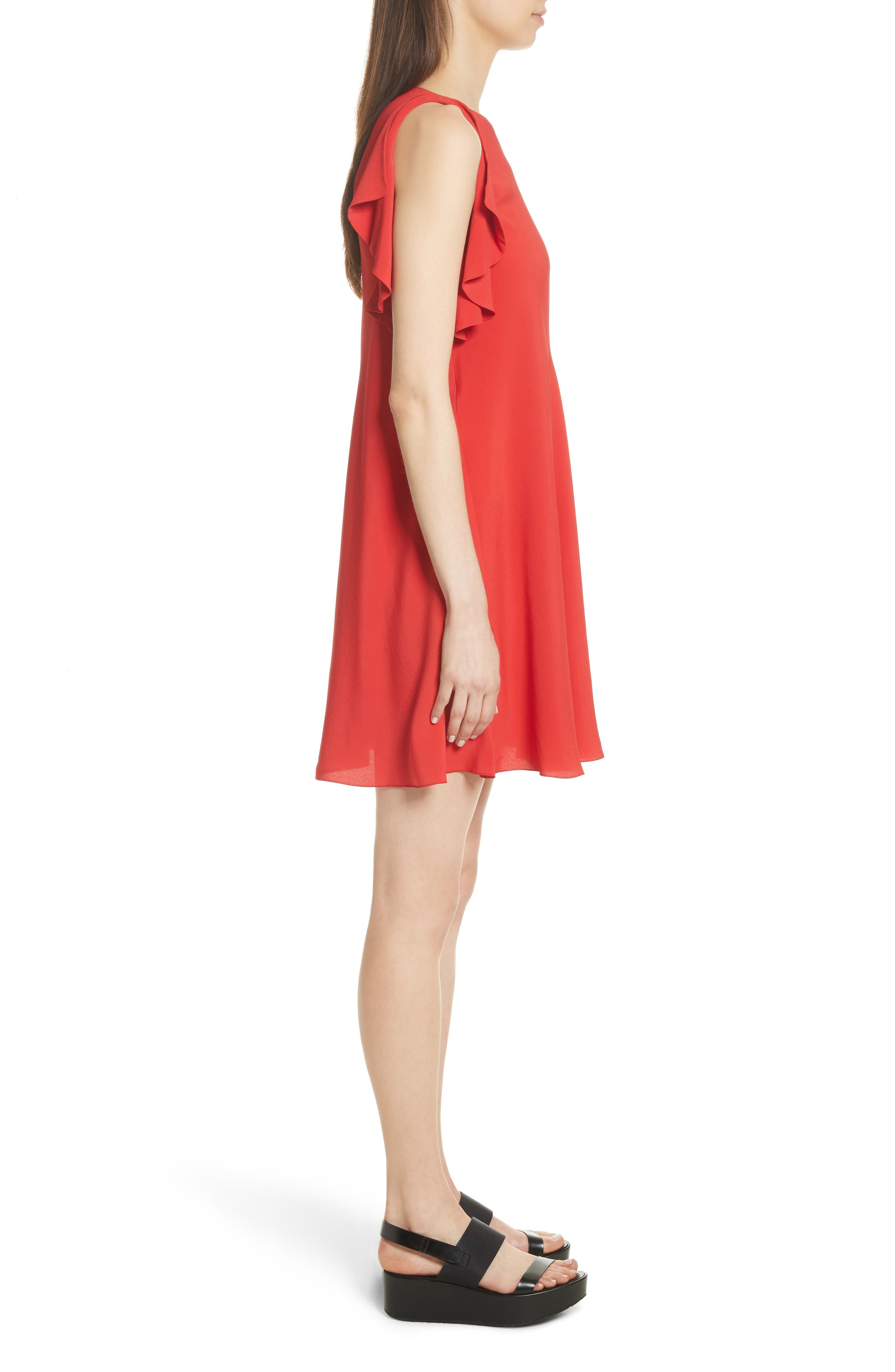 Ruffle Trim A-Line Dress,                             Alternate thumbnail 3, color,                             Red