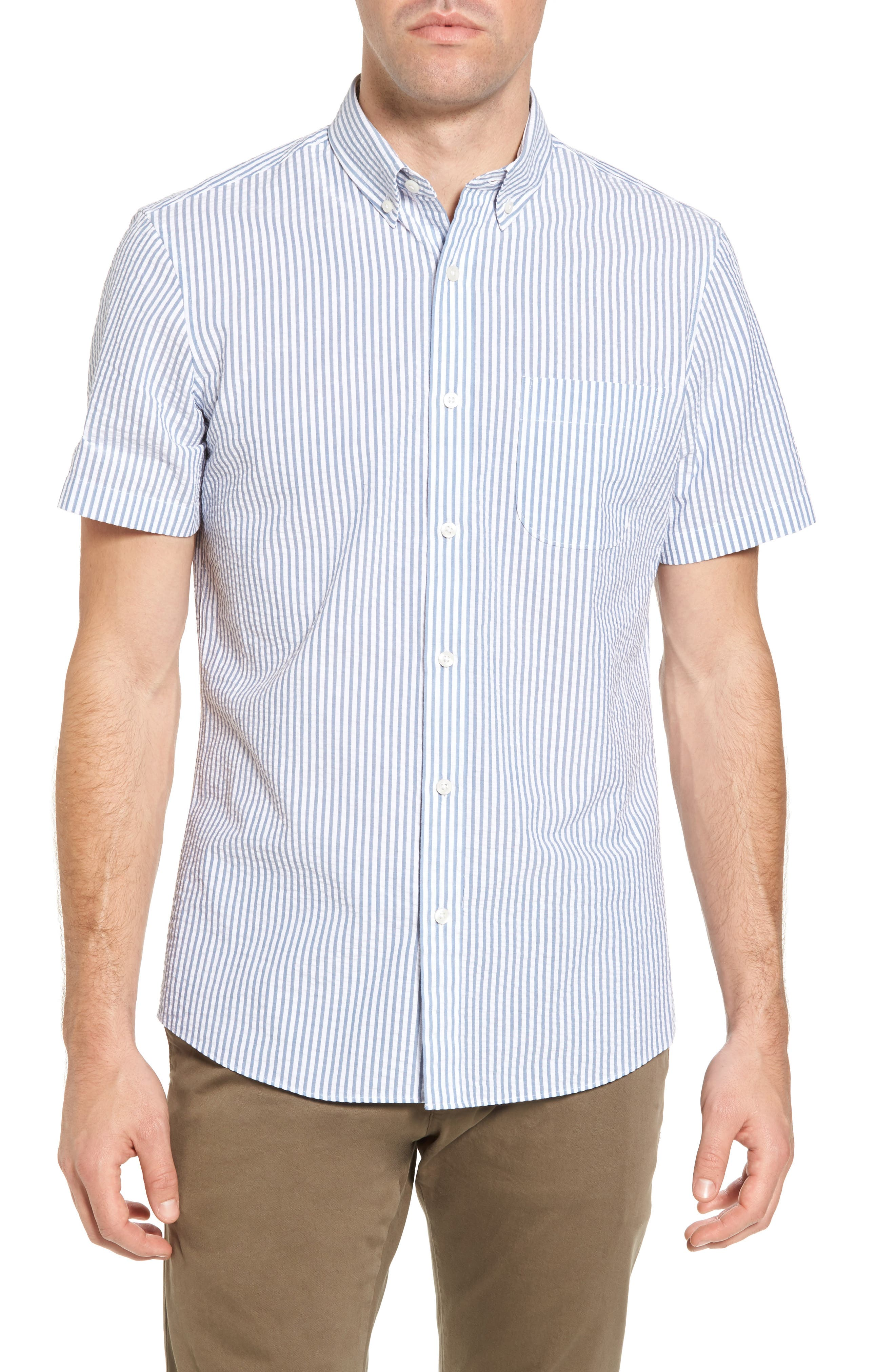Trim Fit Seersucker Short Sleeve Sport Shirt,                         Main,                         color, White Navy Seersucker Stripe