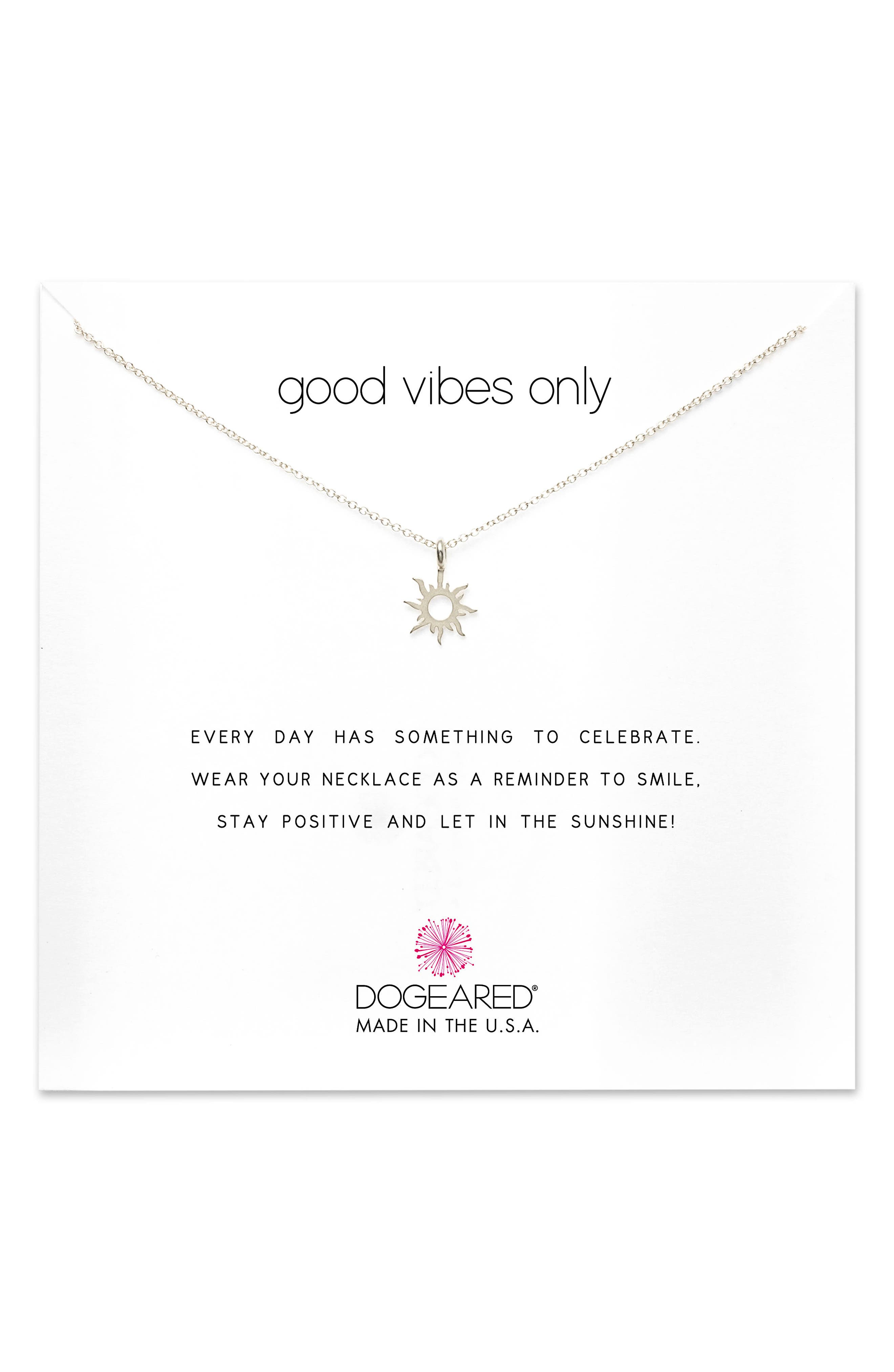Good Vibes Only Pendant Necklace,                             Main thumbnail 1, color,                             Silver
