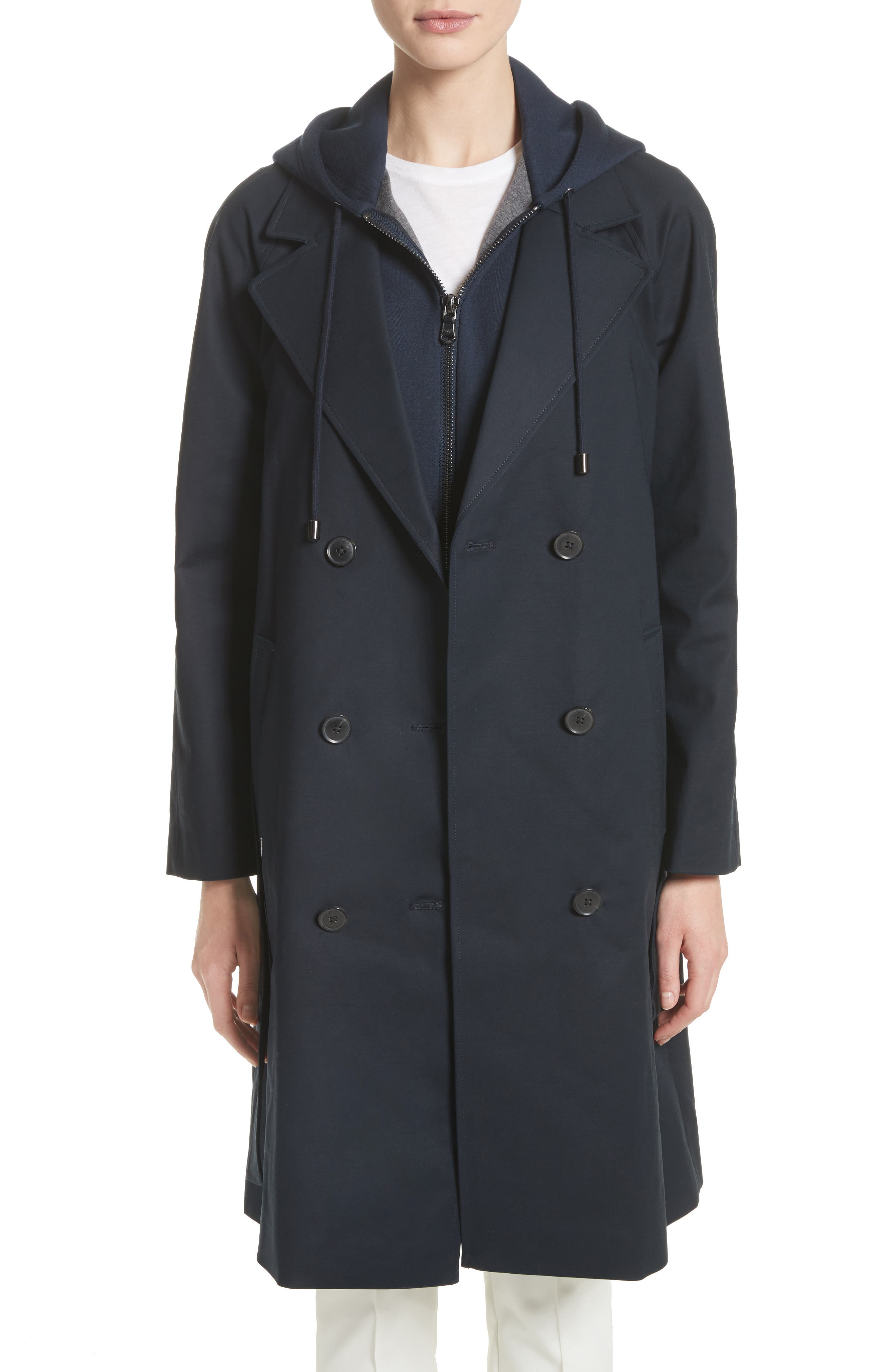 Double Breasted Cotton Blend Trench Coat with Removable Hoodie Inset,                         Main,                         color, Navy