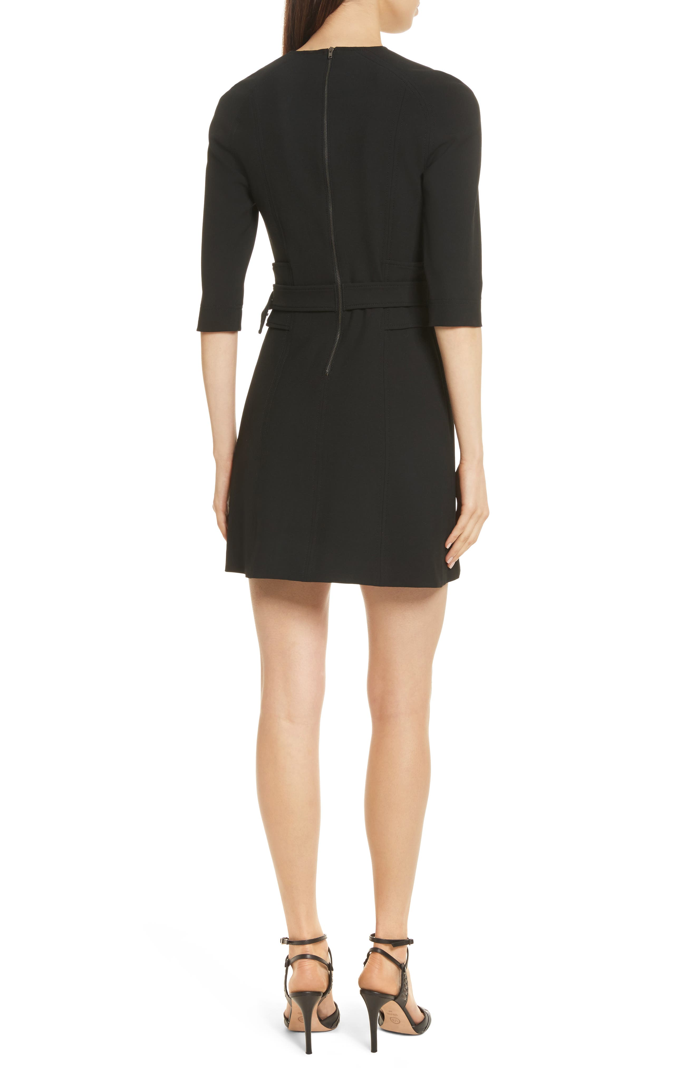 Nora Belted Dress,                             Alternate thumbnail 2, color,                             Black