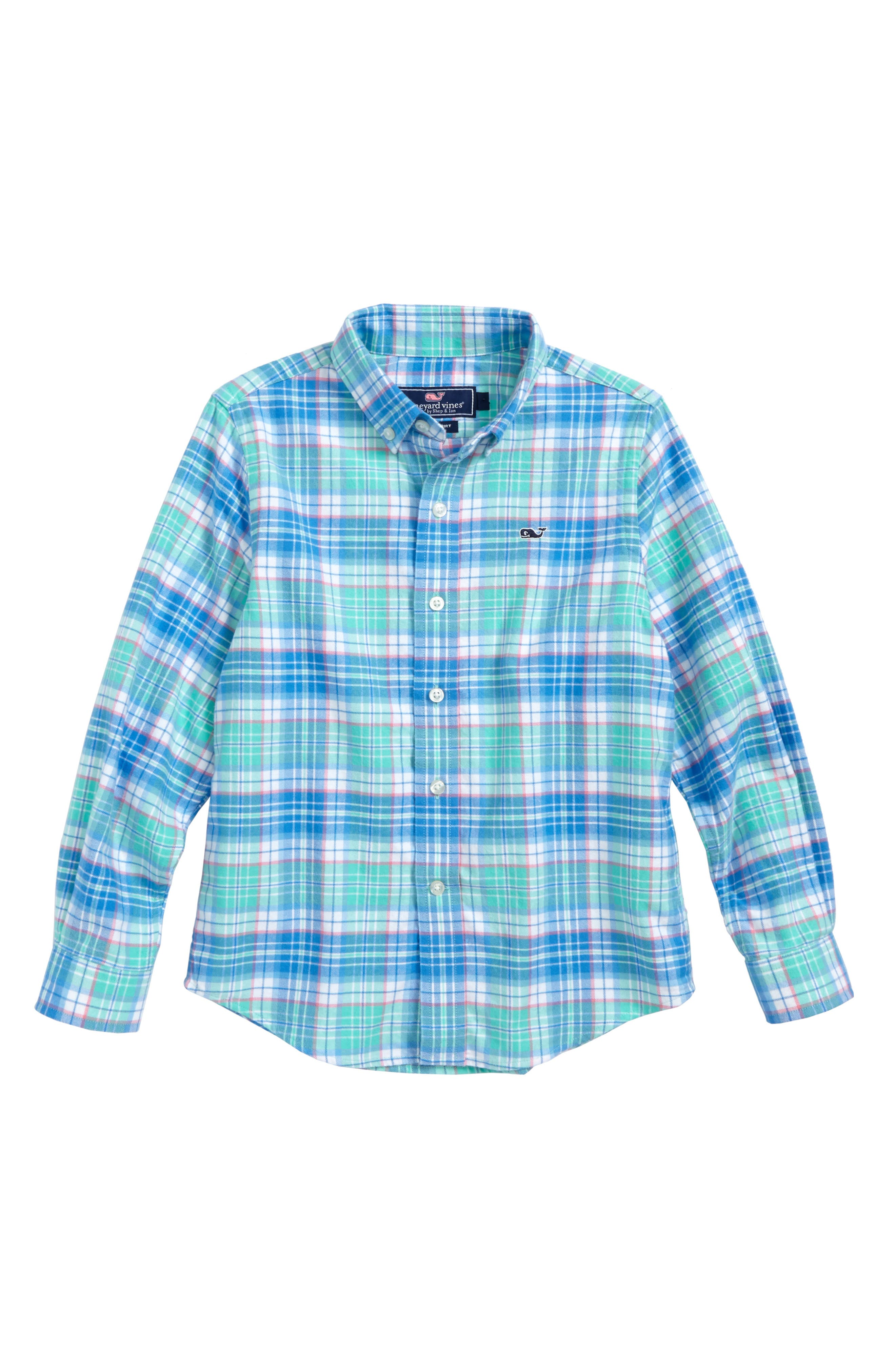Main Image - vineyard vines Sandspar Plaid Whale Flannel Shirt (Toddler Boys & Little Boys)