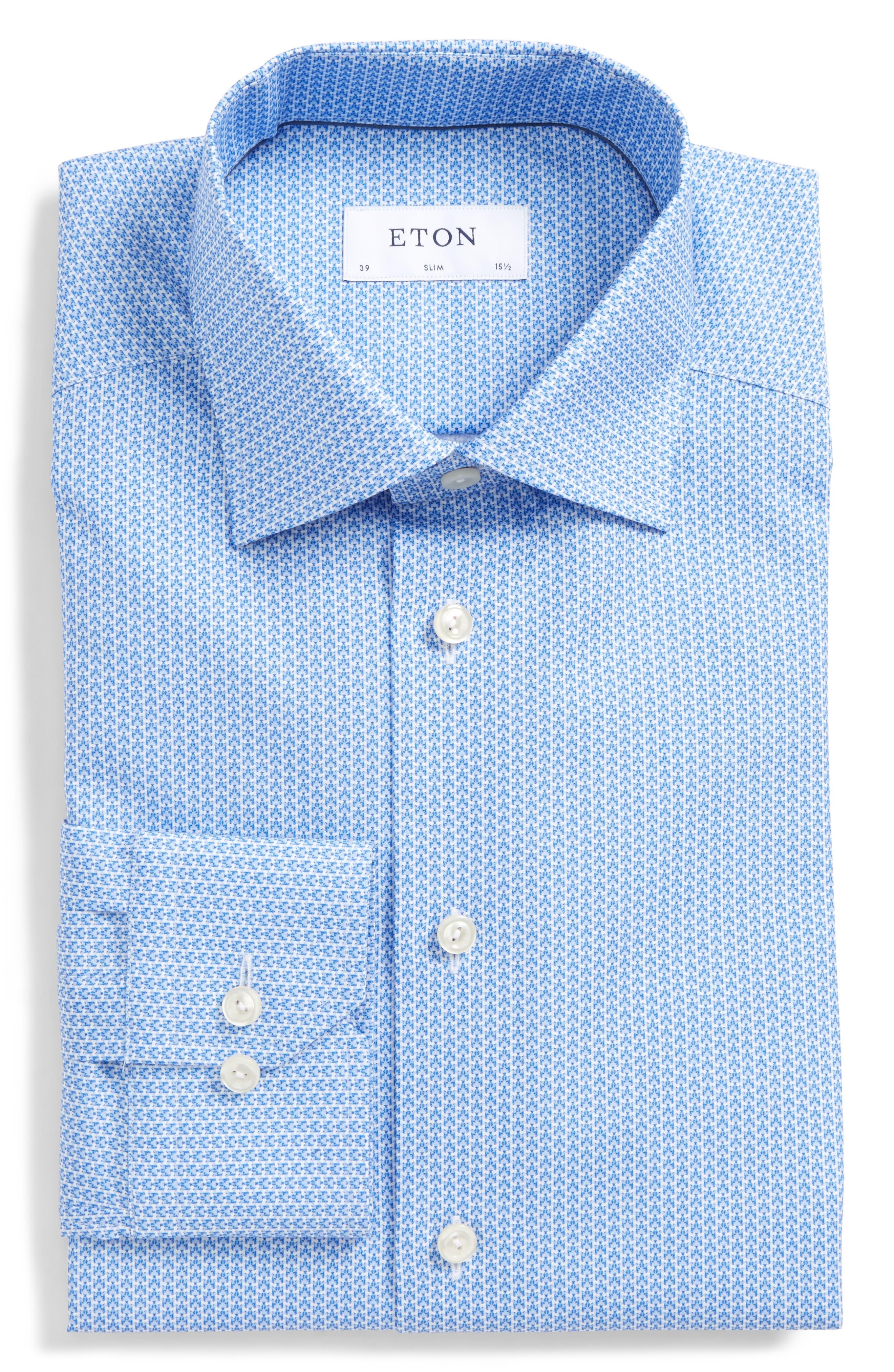 Eton Slim Fit Grid Dress Shirt