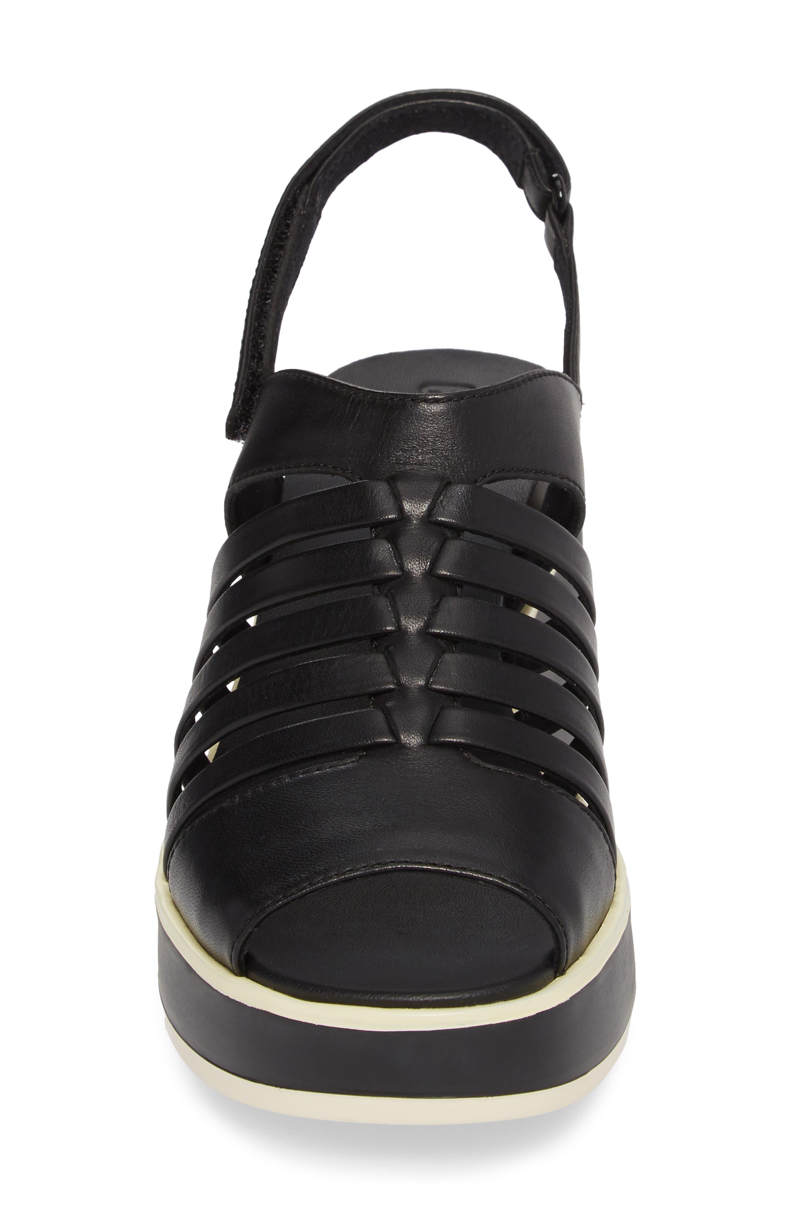 Tropik Strappy Wedge Sandal,                             Alternate thumbnail 4, color,                             Black Leather
