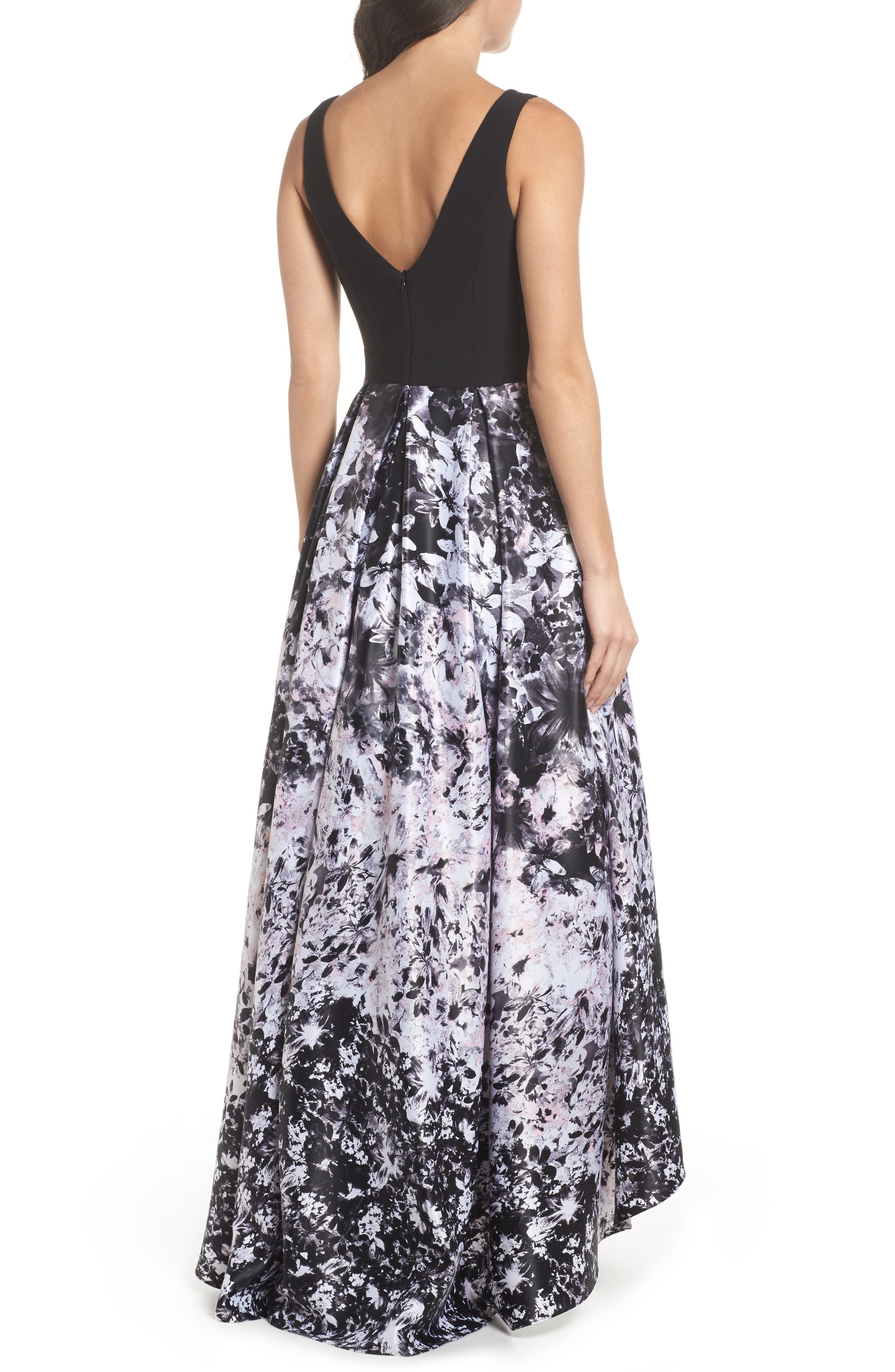 Print Skirt High/Low Gown,                             Alternate thumbnail 2, color,                             Black/ Pink