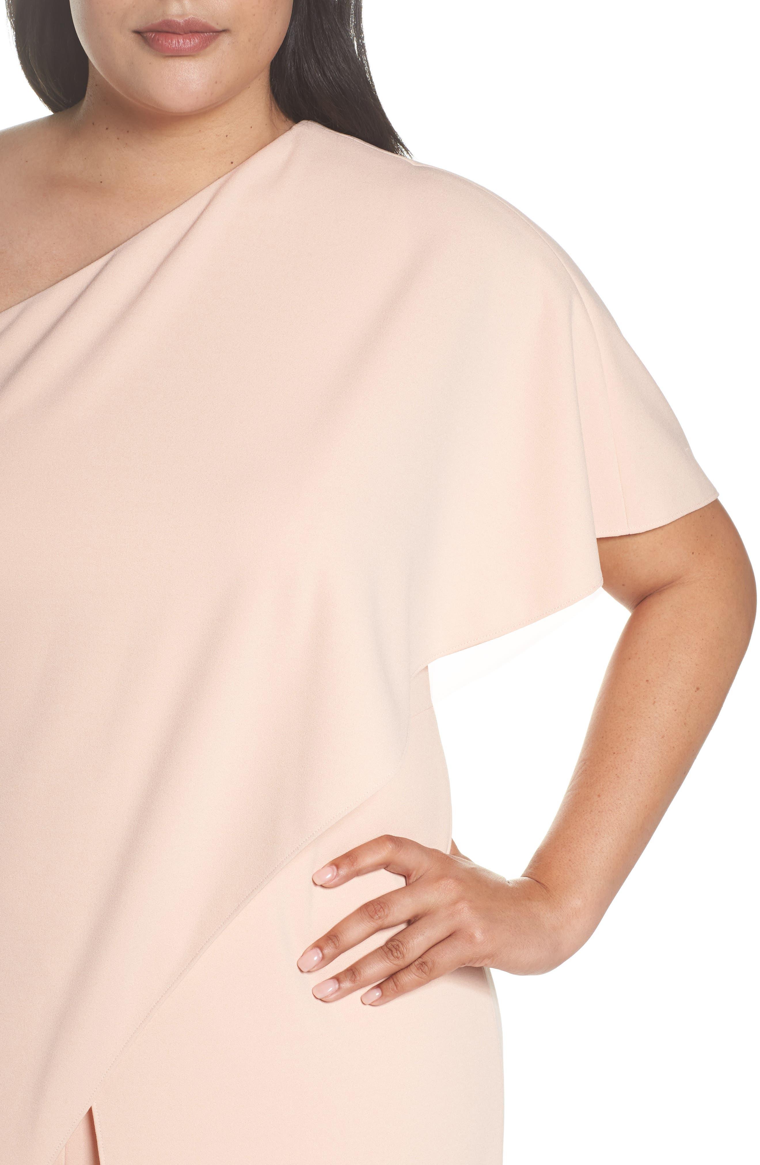 Alternate Image 4  - Adrianna Papell One-Shoulder Jumpsuit (Plus Size)