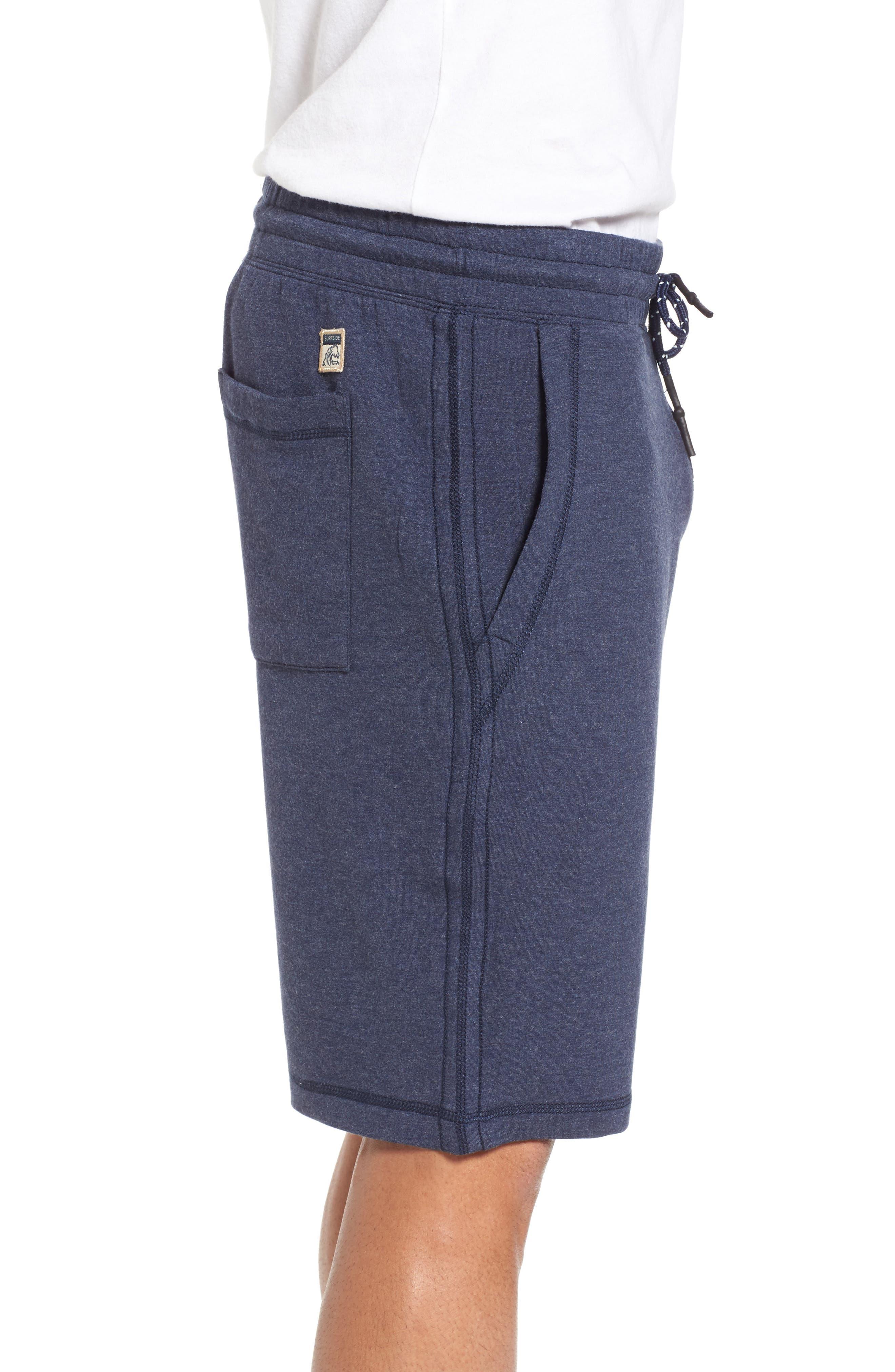 Brushback Fleece Shorts,                             Alternate thumbnail 3, color,                             Navy Heather