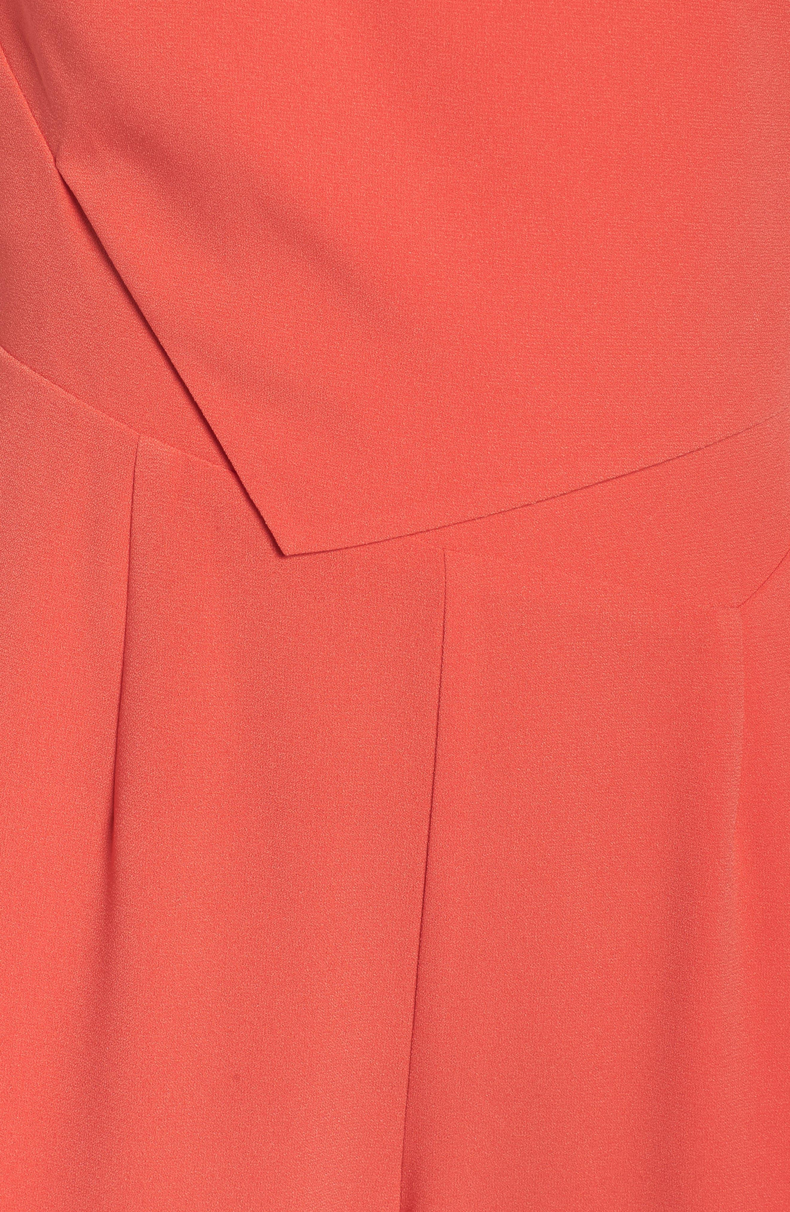 Asymmetrical Pleat Jumpsuit,                             Alternate thumbnail 6, color,                             Coral