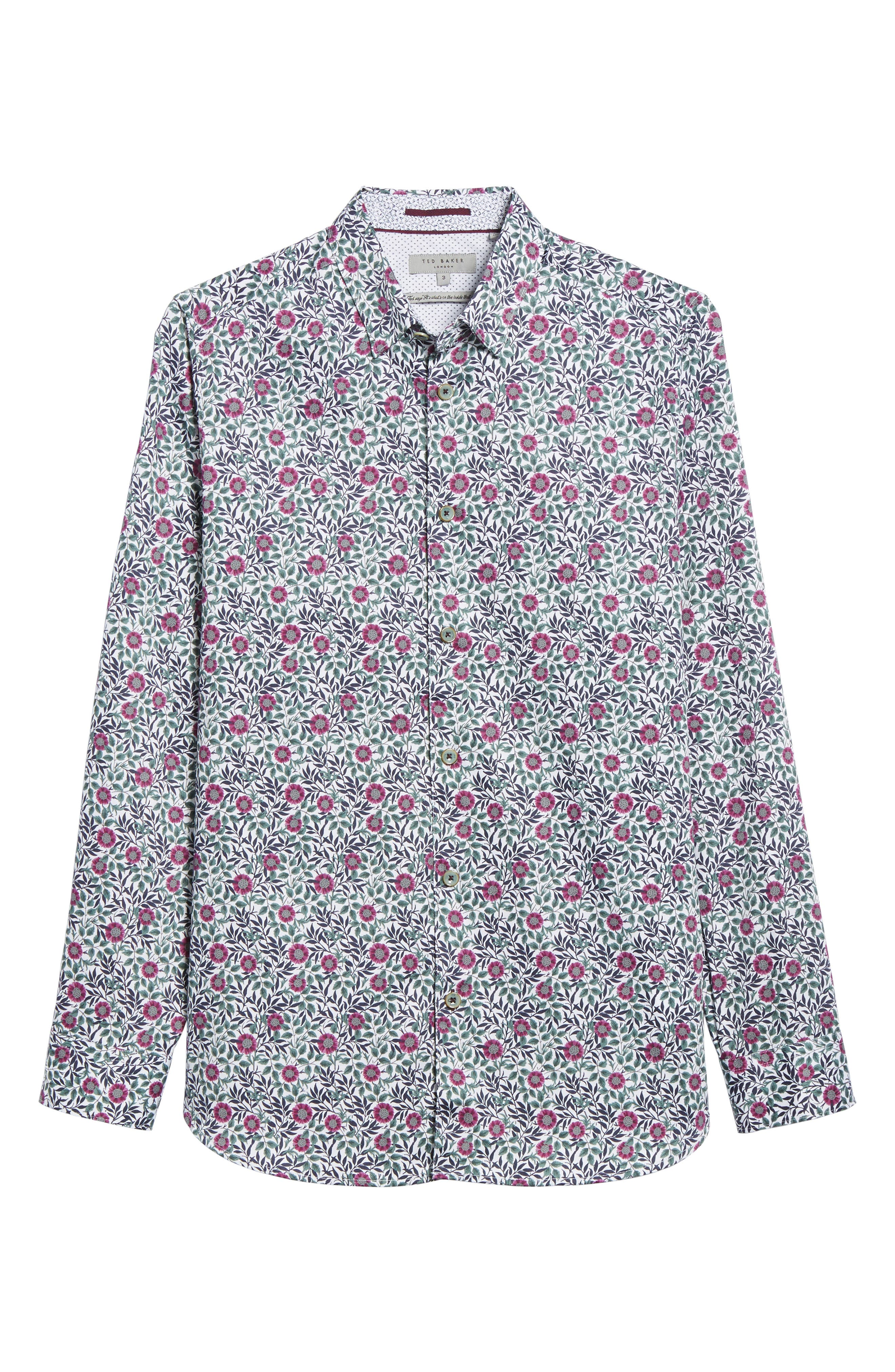 Orense Floral Print Slim Fit Shirt,                             Alternate thumbnail 6, color,                             Green