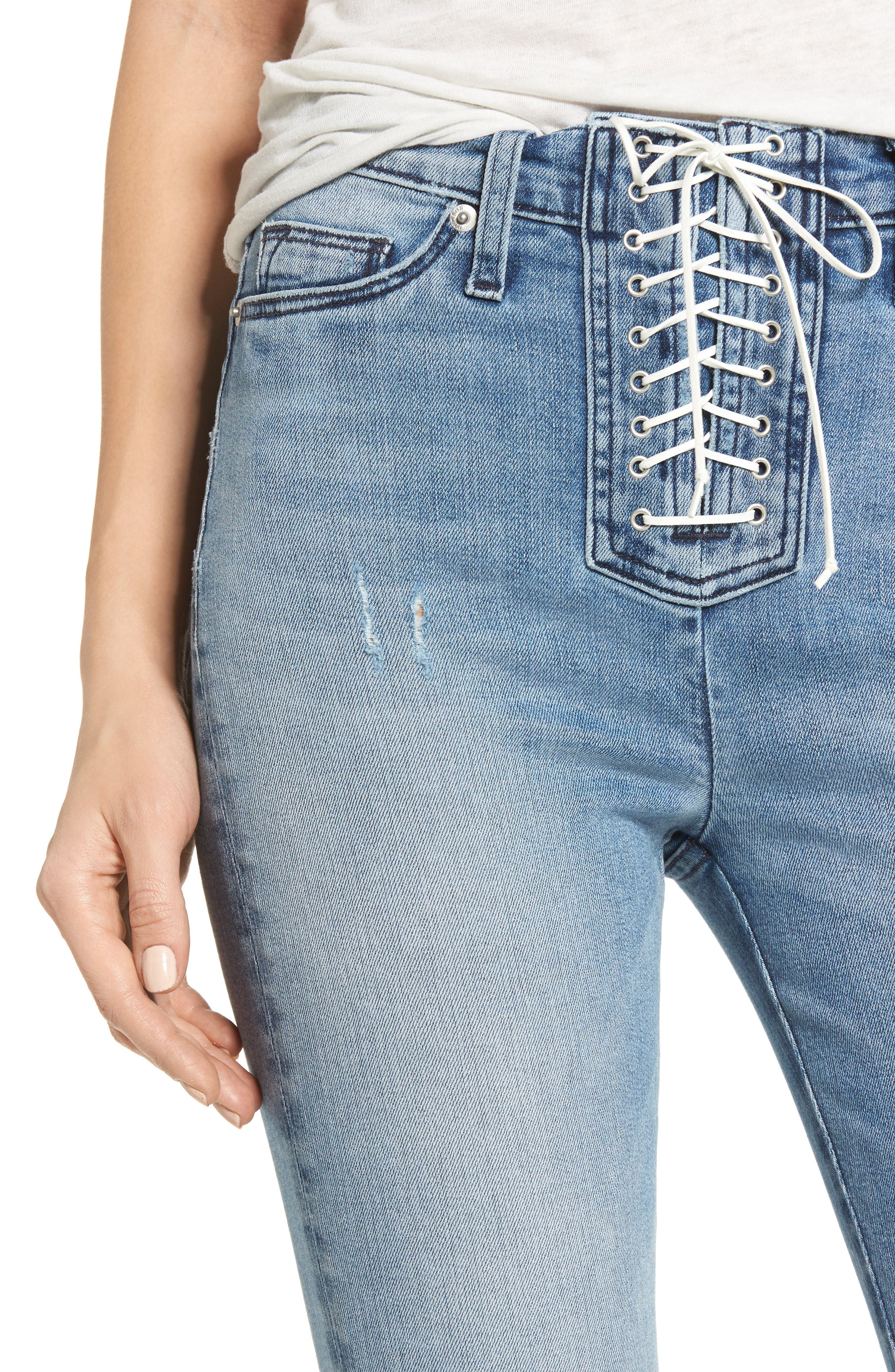 Bullocks Lace-Up High Waist Super Skinny Jeans,                             Alternate thumbnail 4, color,                             Guilty Pleasure
