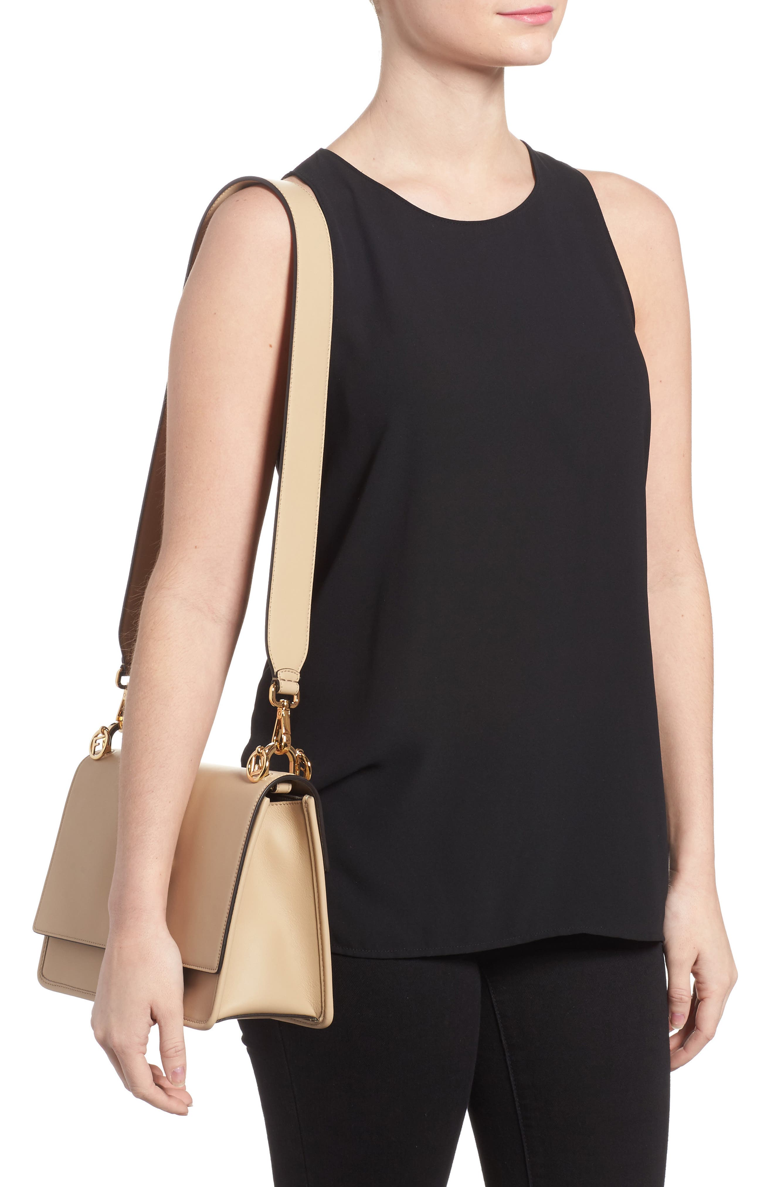 Kan I Calfskin Leather Shoulder Bag,                             Alternate thumbnail 2, color,                             Beige