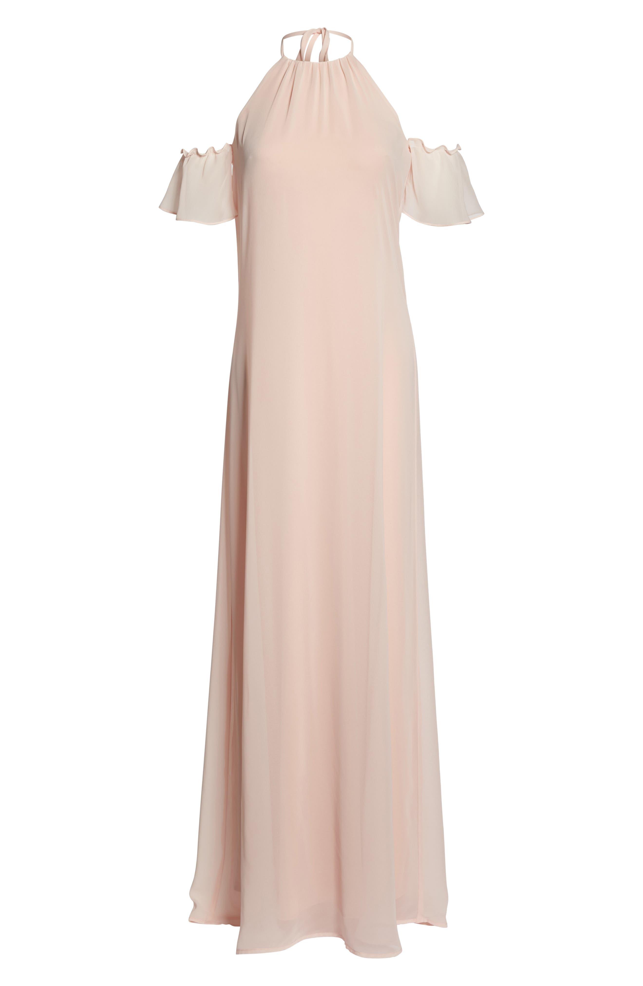 Alternate Image 6  - nouvelle AMSALE Ruffle Sleeve Halter Gown