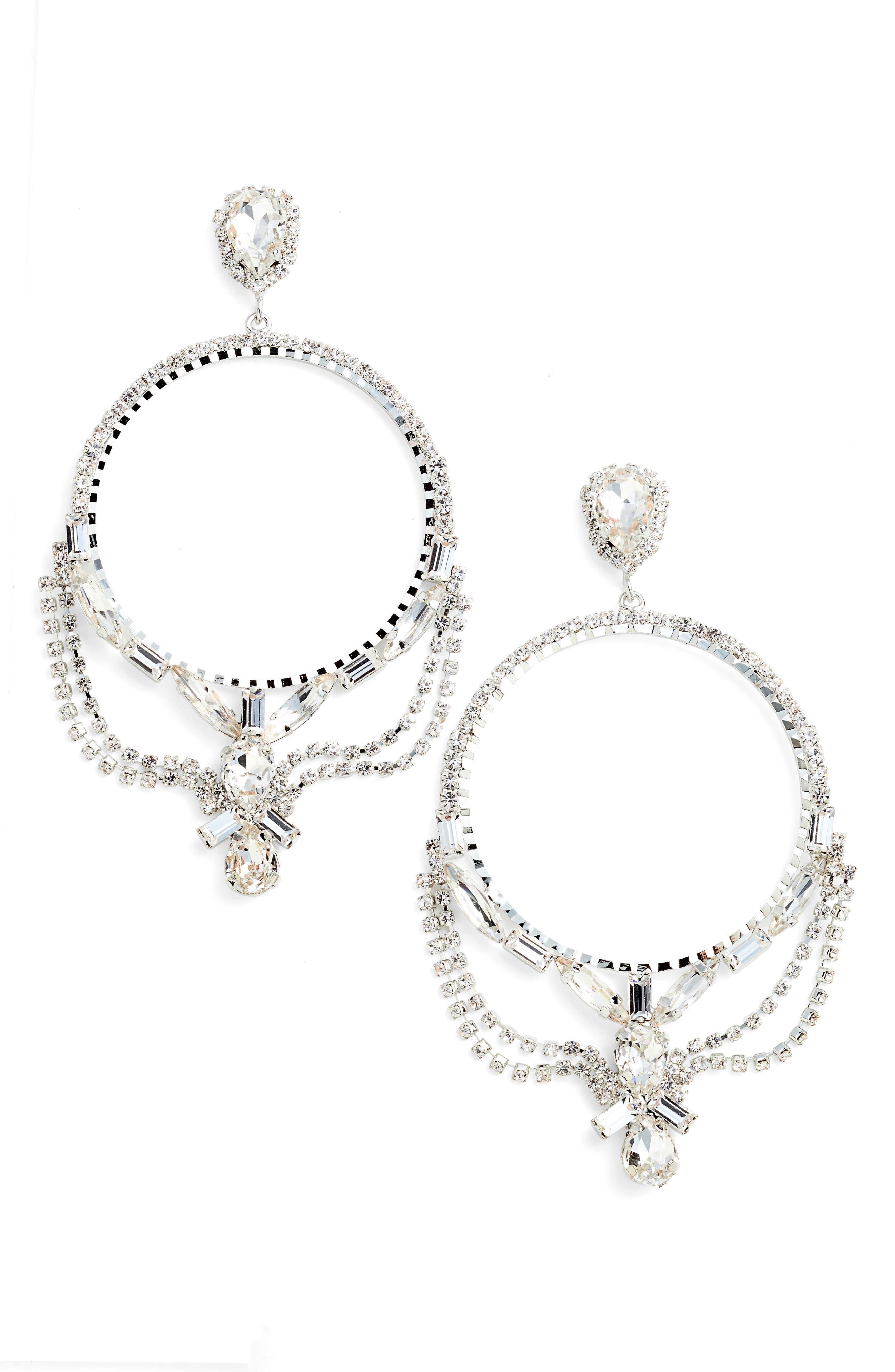 Main Image - CRISTABELLE Fancy Frontal Hoop Drop Earrings
