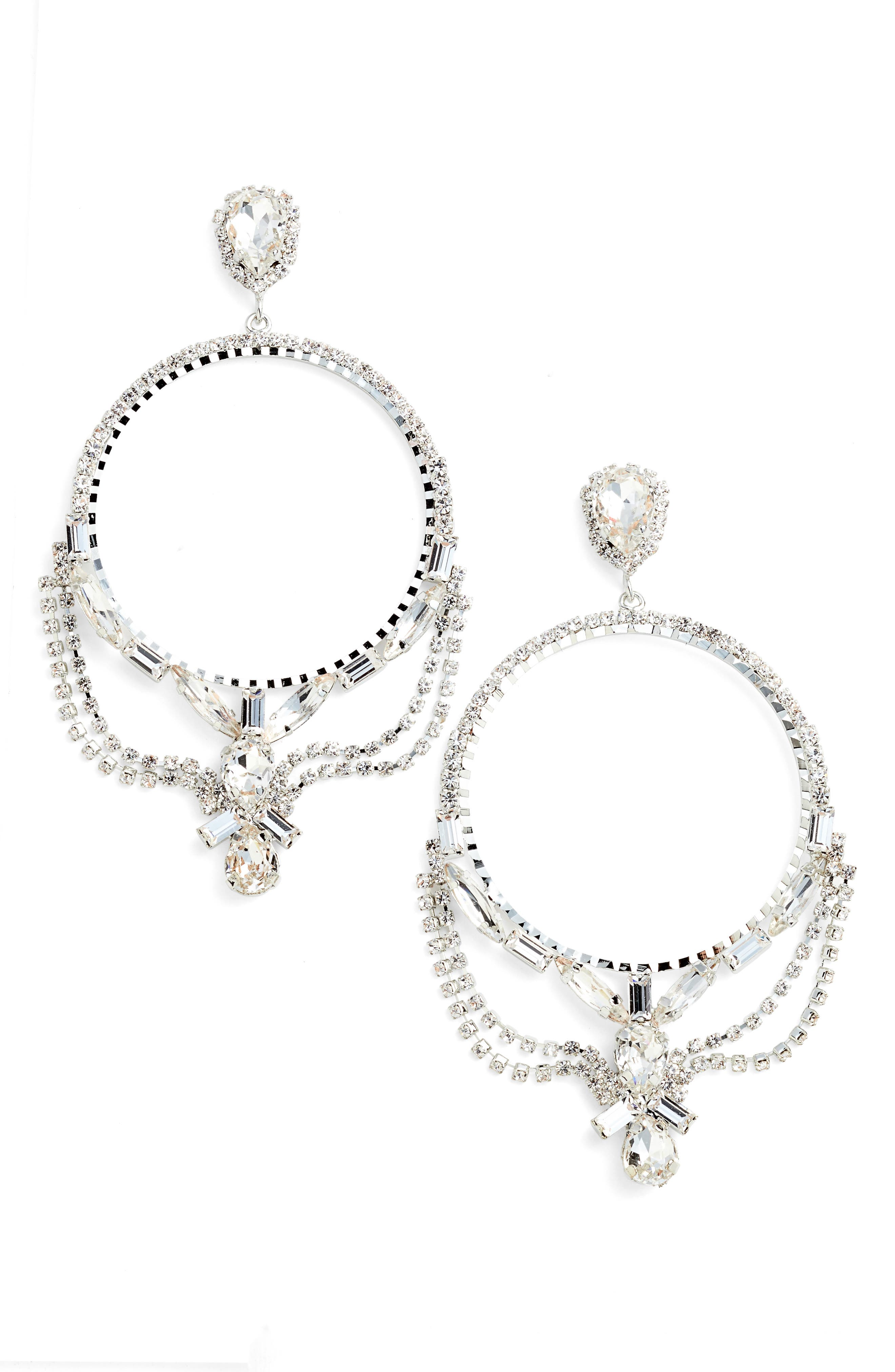 Fancy Frontal Hoop Drop Earrings,                         Main,                         color, Silver