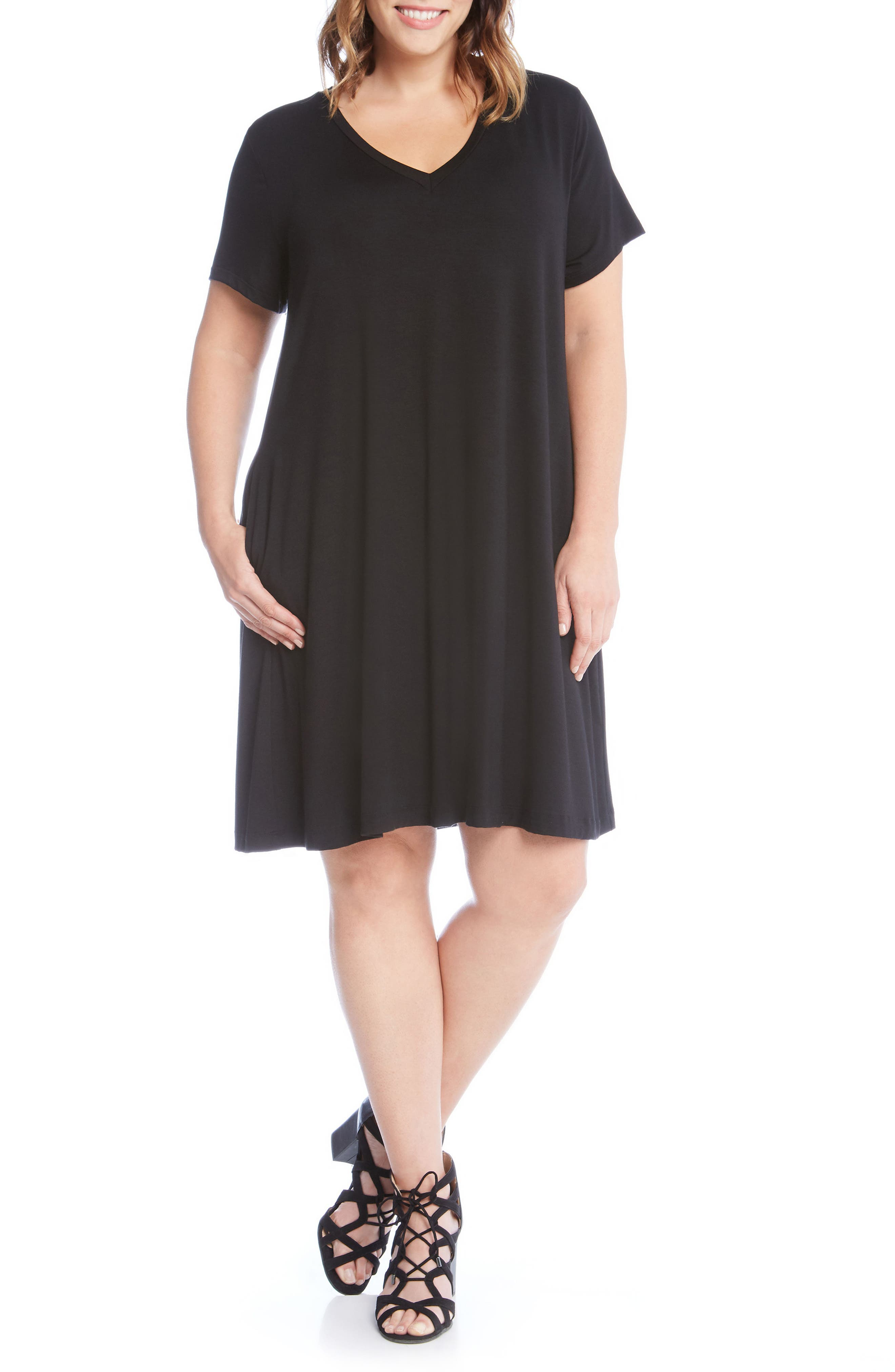 Quinn Pocket Shift Dress,                             Main thumbnail 1, color,                             Black