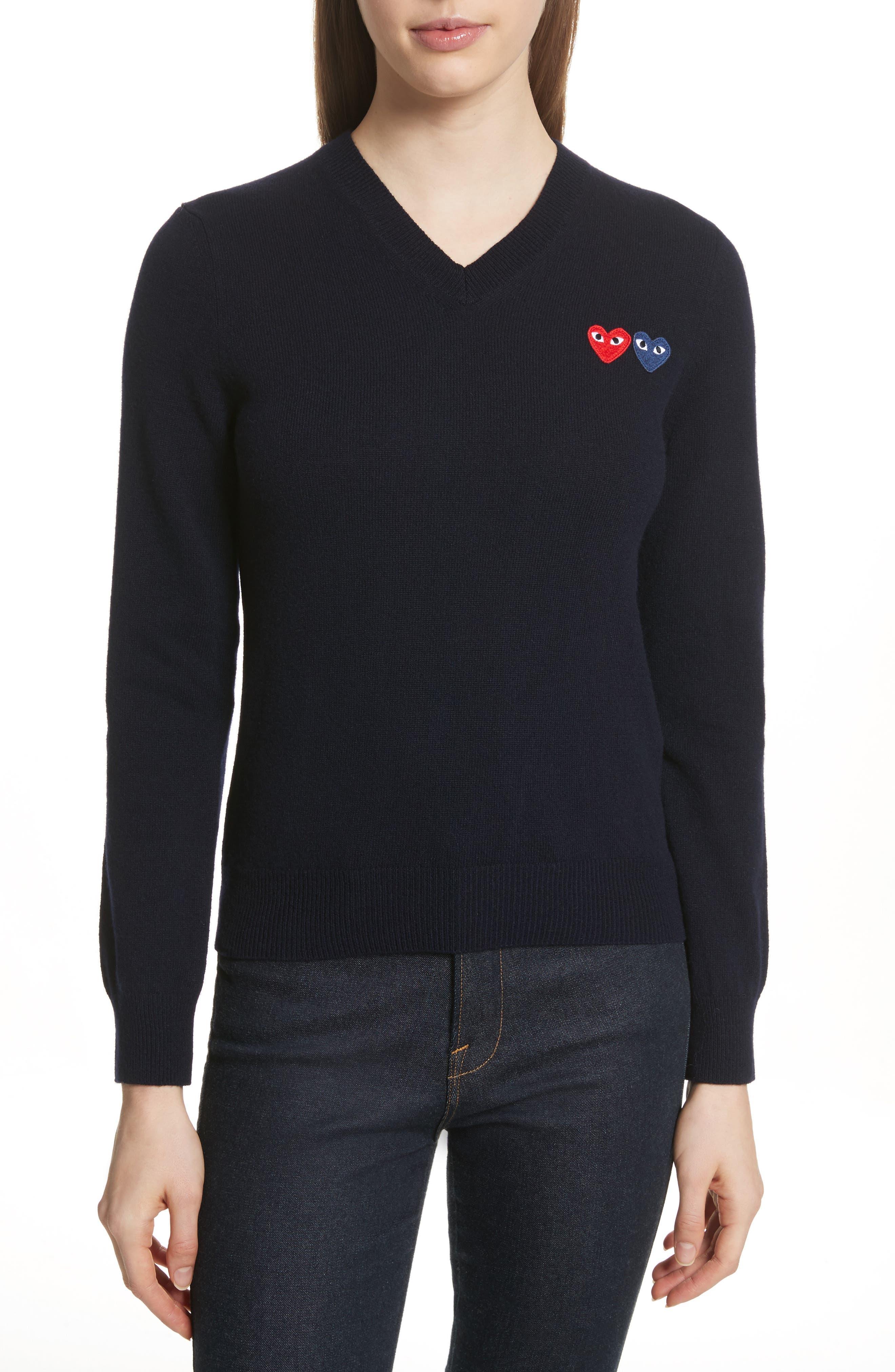 Comme des Garçons PLAY Wool Sweater,                         Main,                         color, Navy