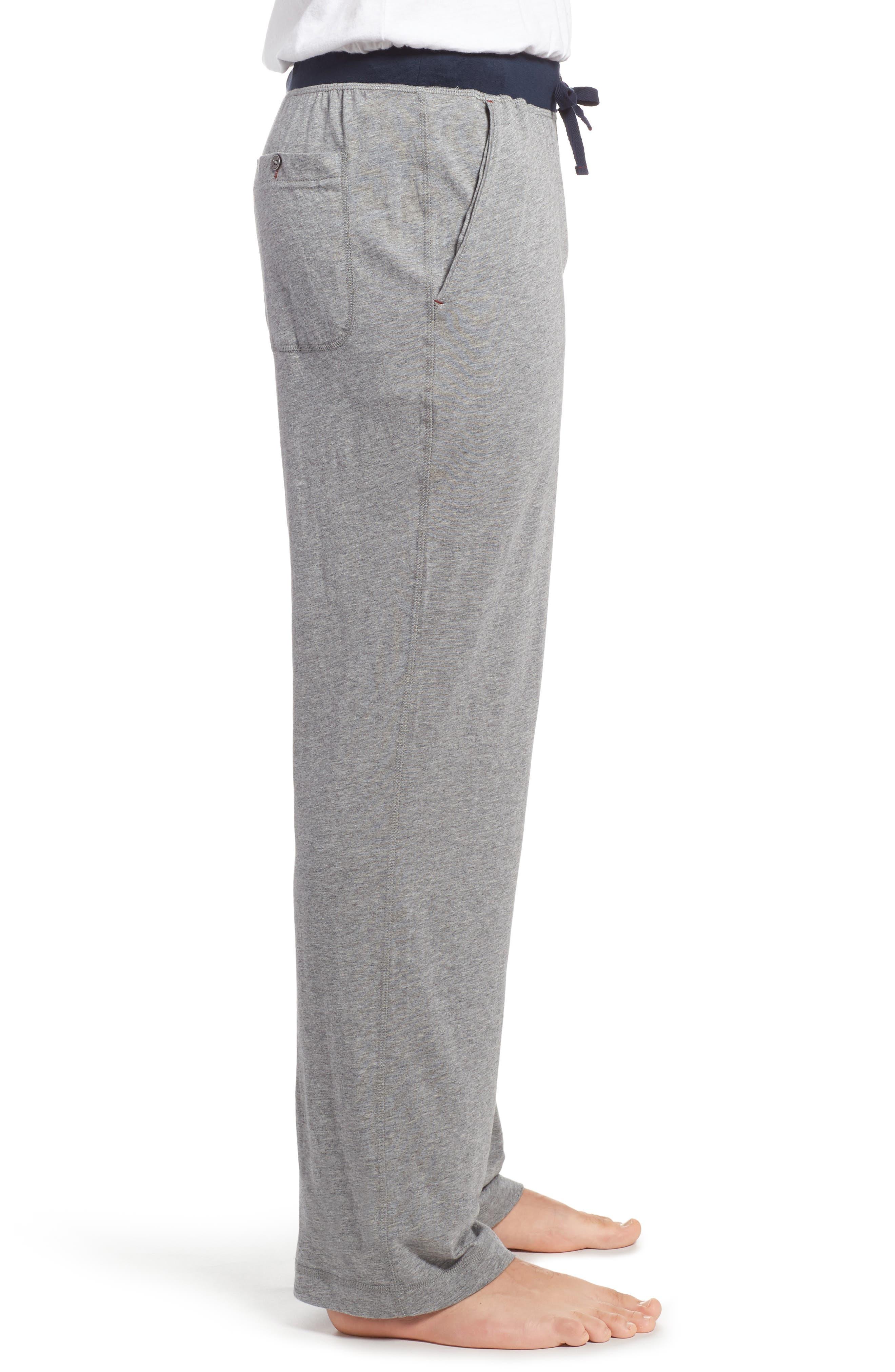 Pima Cotton & Modal Lounge Pants,                             Alternate thumbnail 3, color,                             Grey Heather