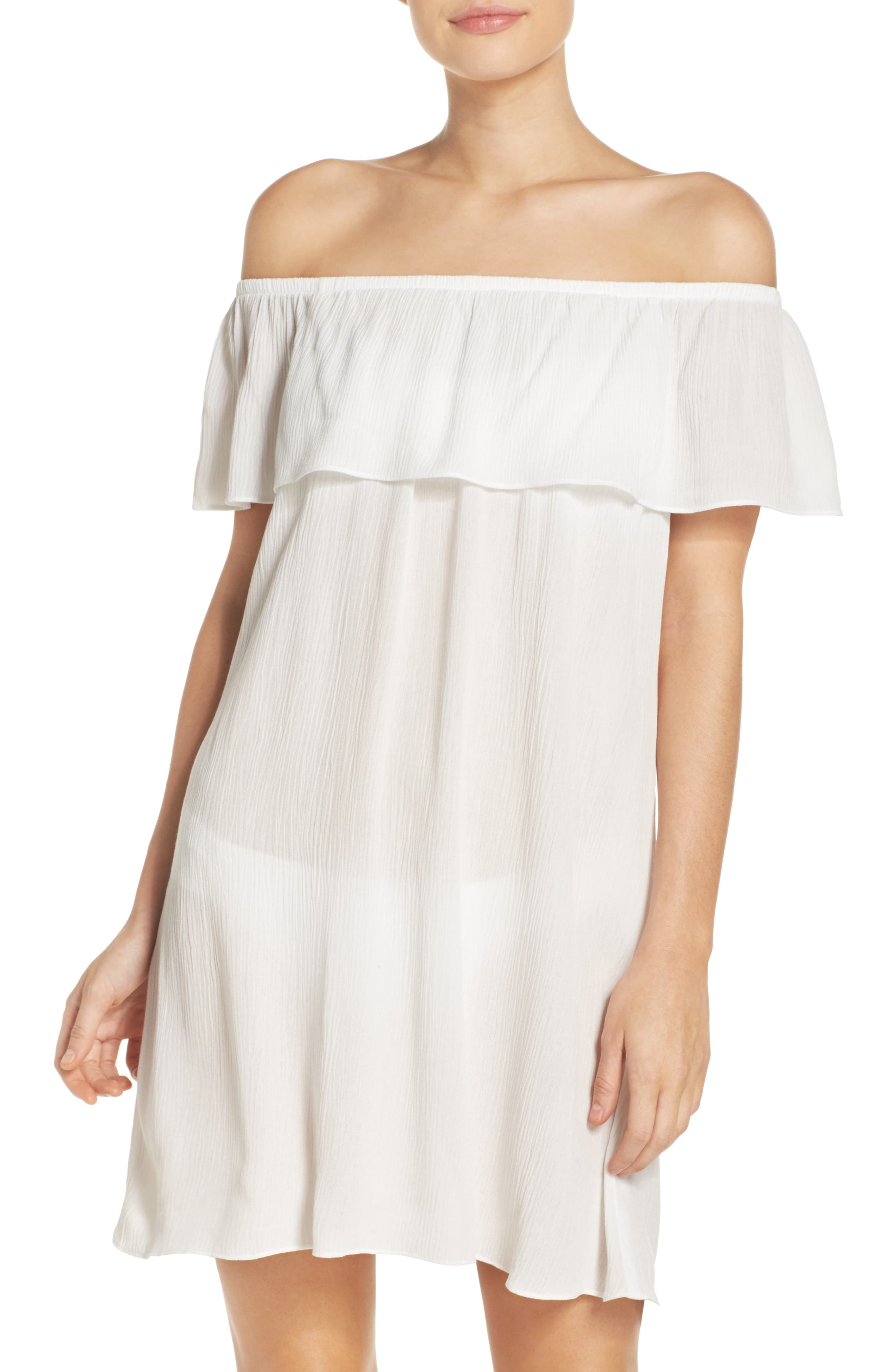 Southern Belle Off the Shoulder Cover-Up Dress,                             Main thumbnail 1, color,                             White