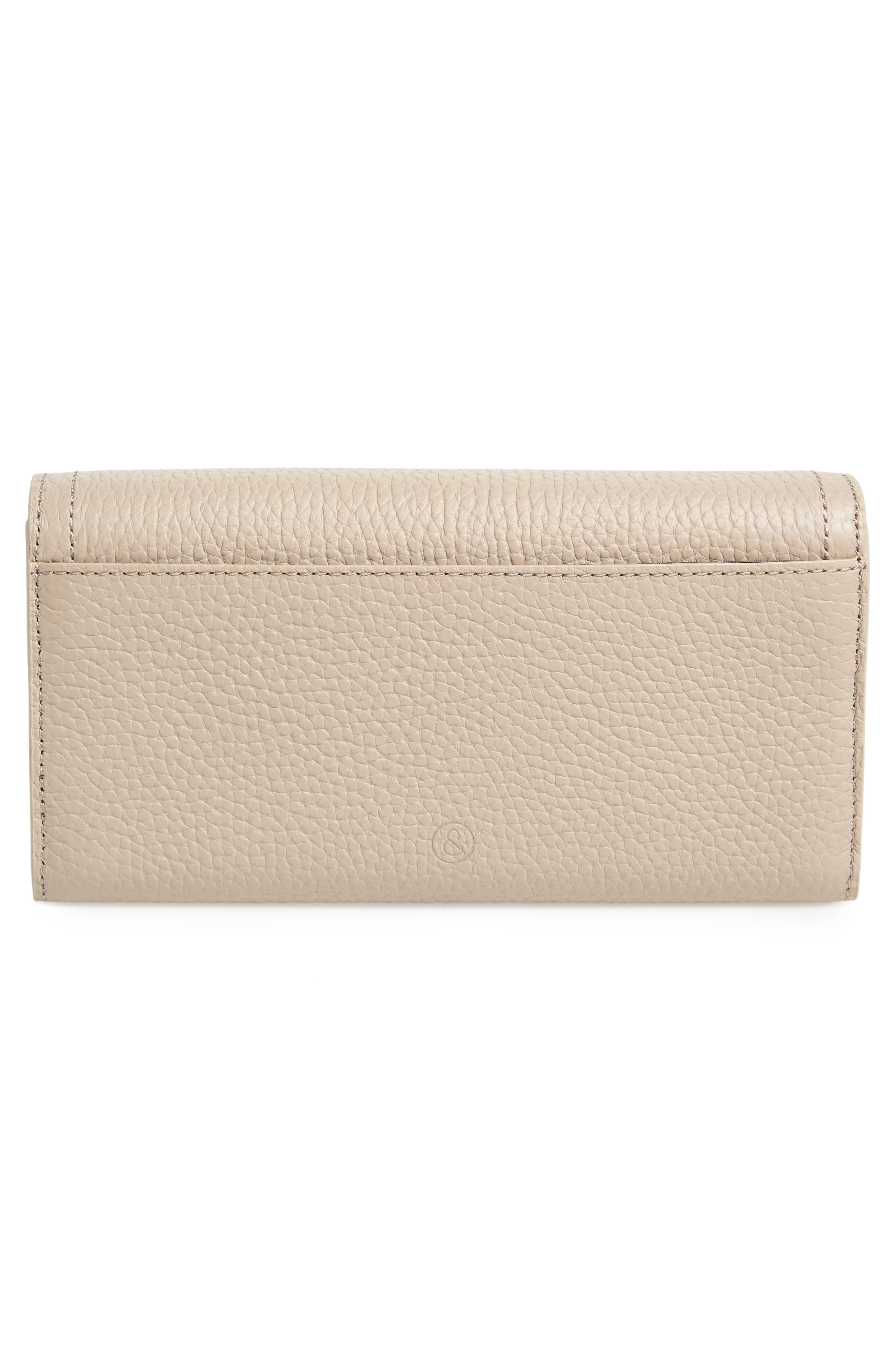 Leather Continental Wallet,                             Alternate thumbnail 4, color,                             Beige Morn