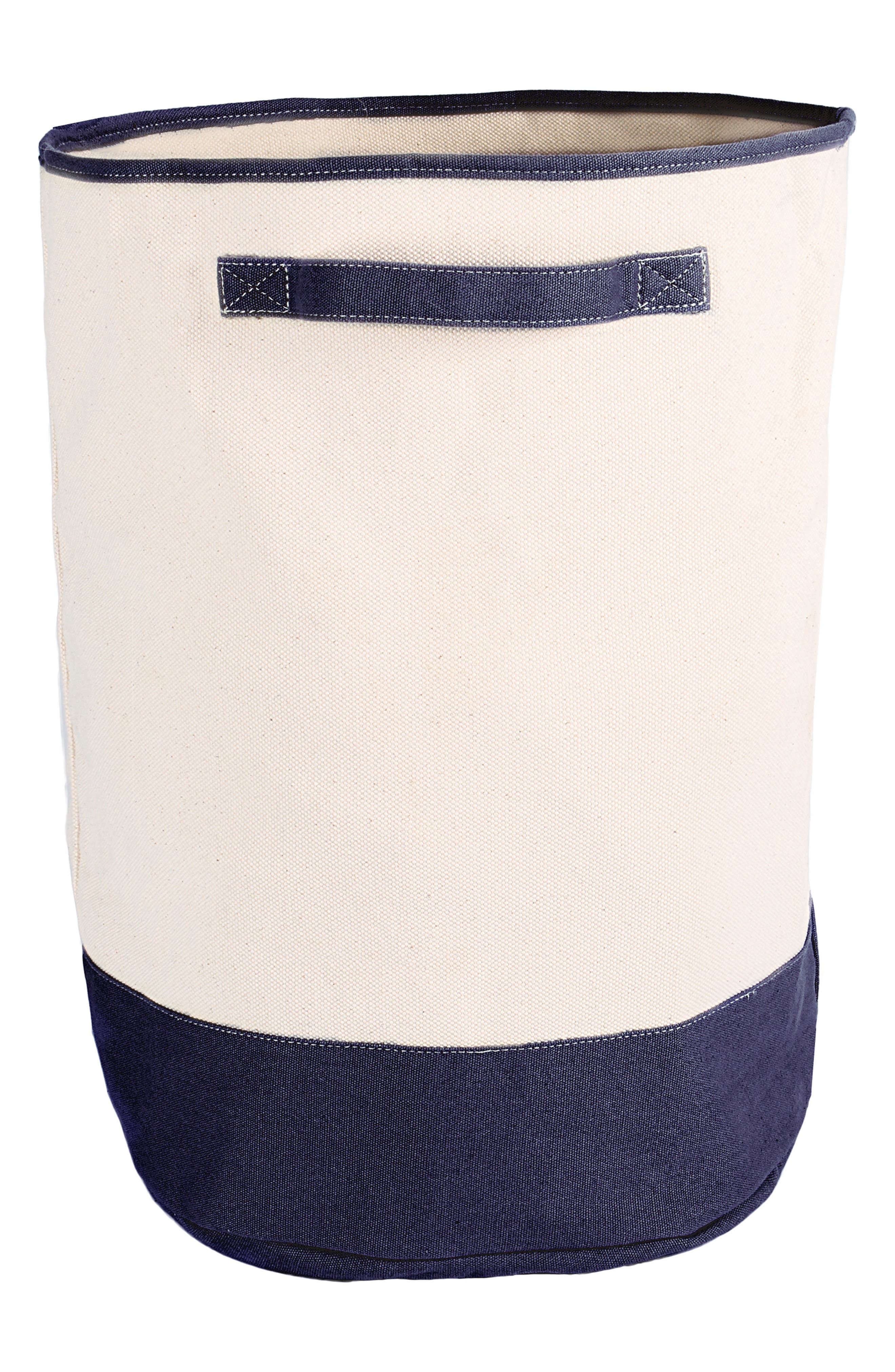 Monogram Round Canvas Hamper,                             Main thumbnail 1, color,                             Navy - Blank