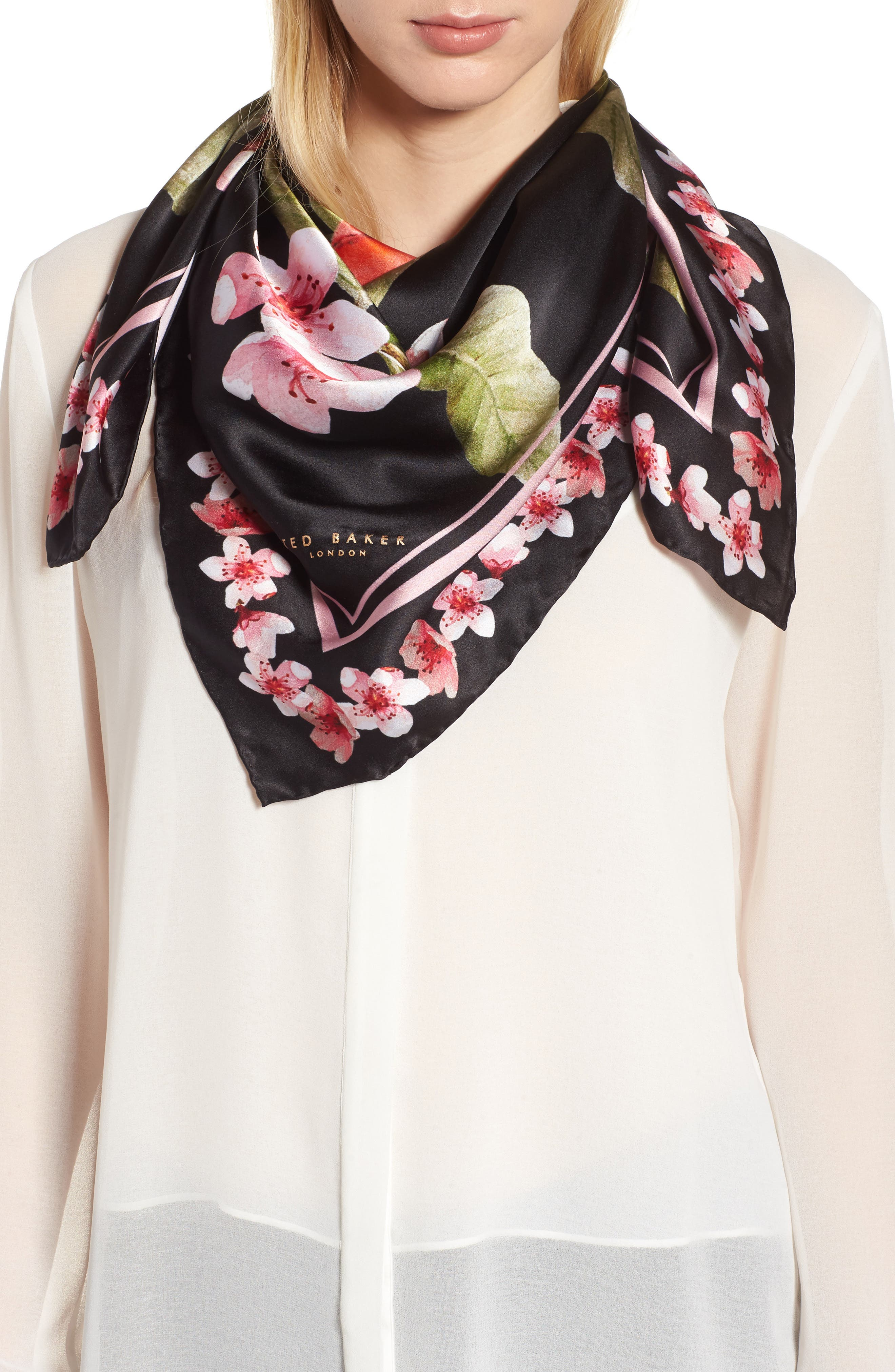 Peach Blossom Square Silk Scarf,                             Main thumbnail 1, color,                             00-Black