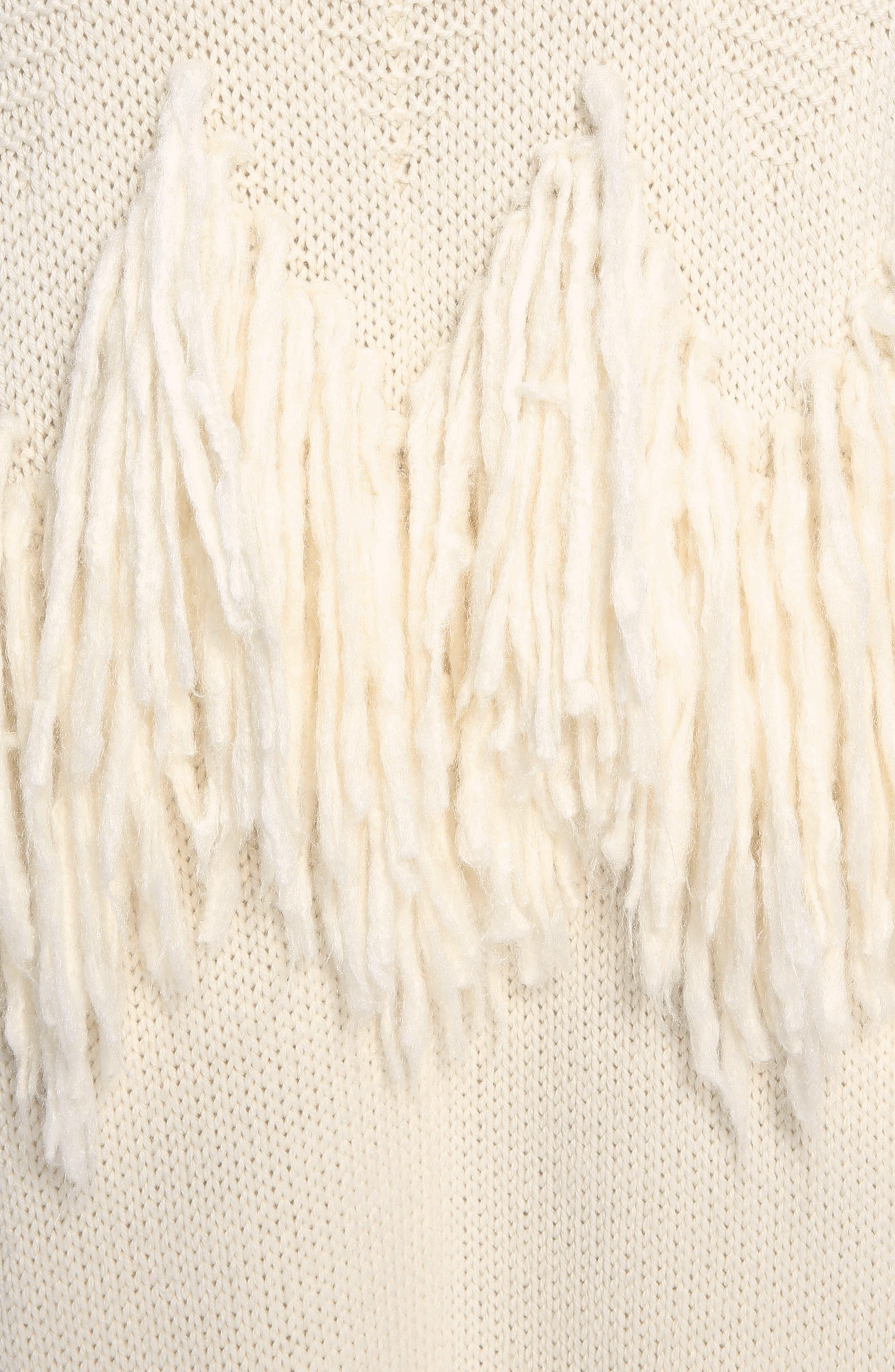 Shaggy Fringe Wool Cardigan,                             Alternate thumbnail 5, color,                             Iconic Milk