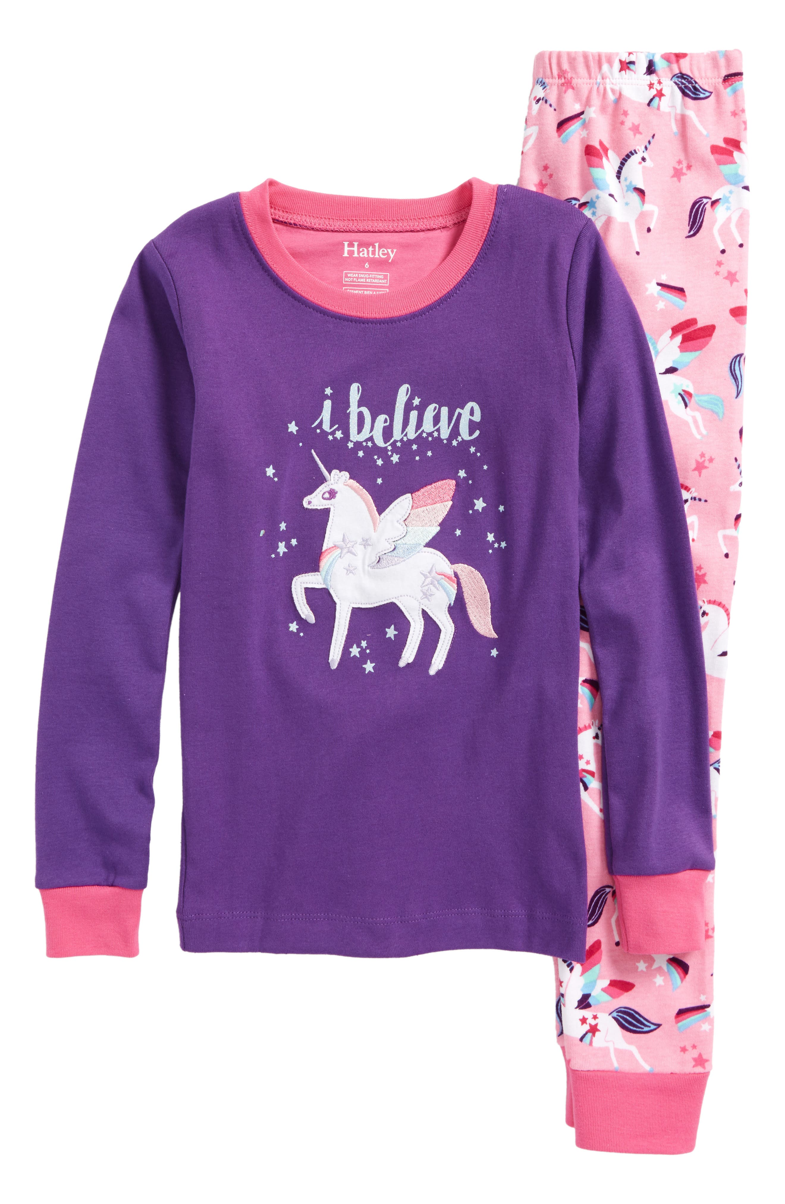 Appliqué Two-Piece Fitted Pajamas,                         Main,                         color, Winged Unicorns