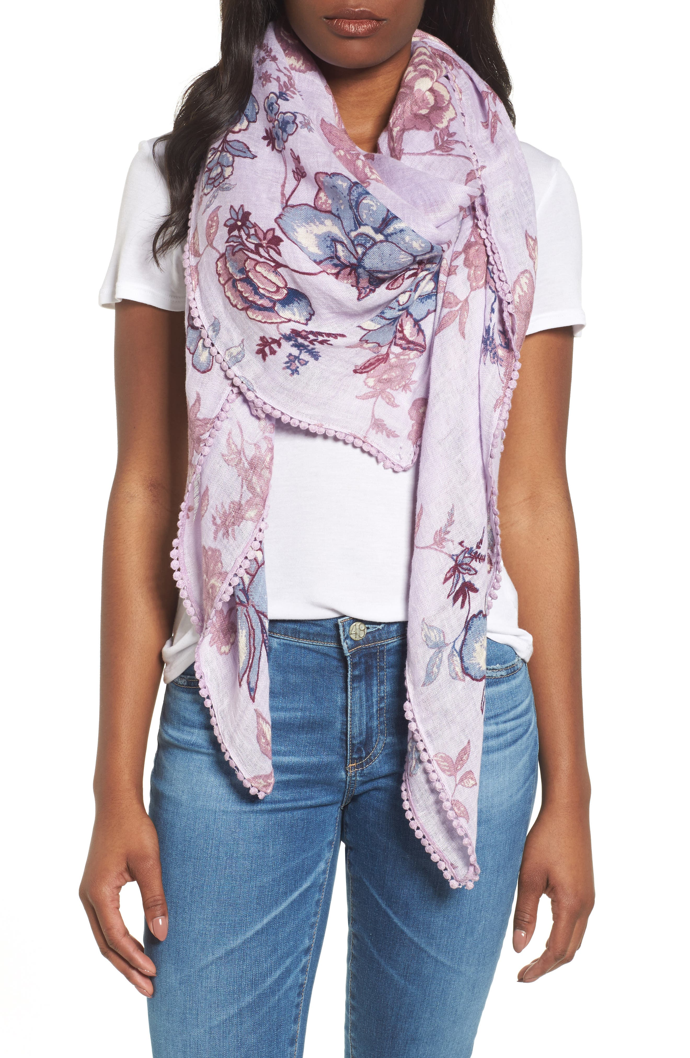 Print Scarf,                         Main,                         color, Purple Lace Work