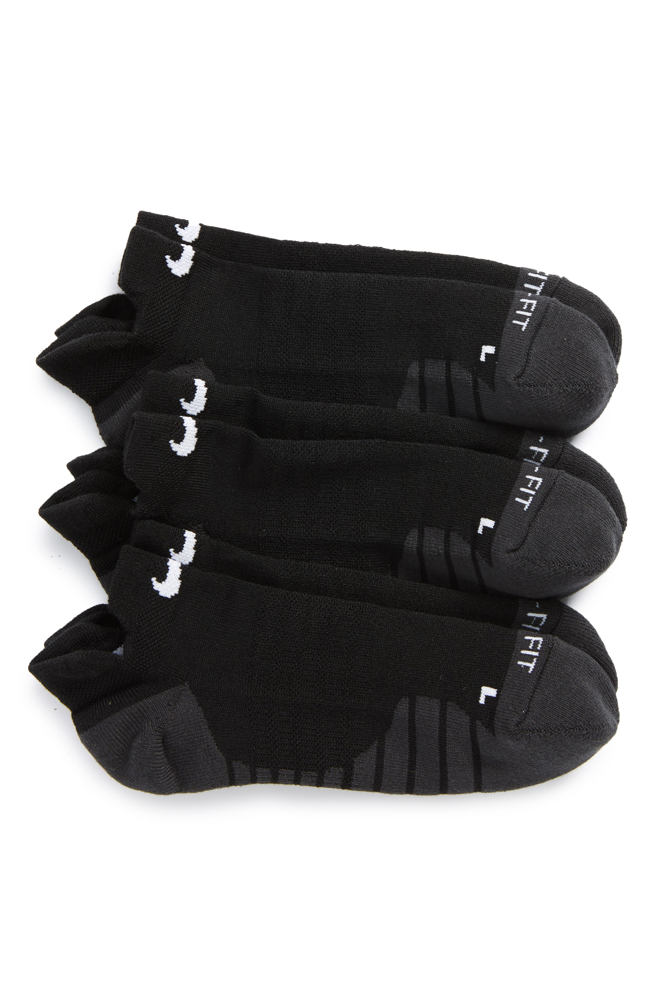 Dry 3-Pack Cushioned Low Cut Socks,                             Main thumbnail 1, color,                             Black/ Anthracite/ White