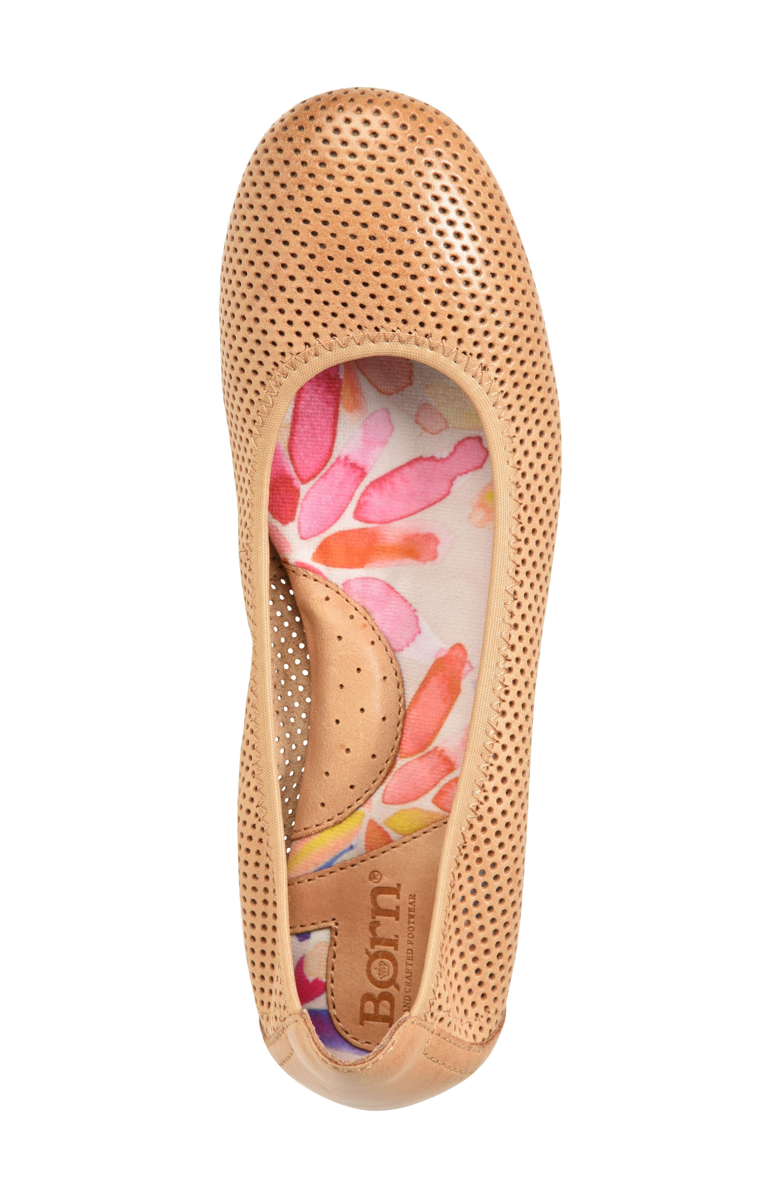 Julianne Perforated Flat,                             Alternate thumbnail 5, color,                             Tan Leather