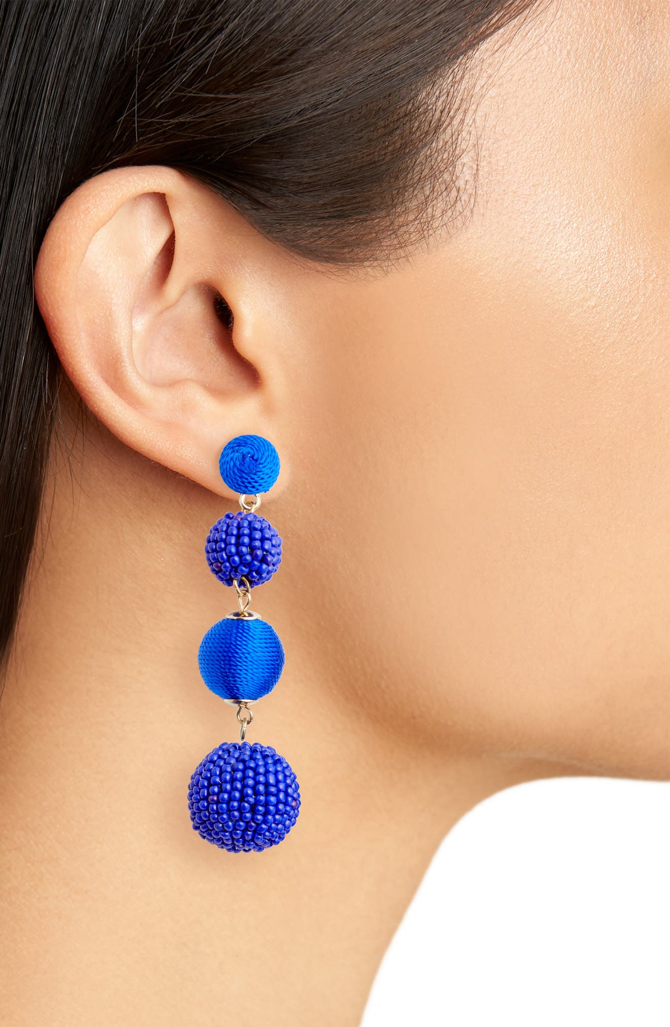 Mixed Bead & Thread Drop Earrings,                             Alternate thumbnail 2, color,                             Blue