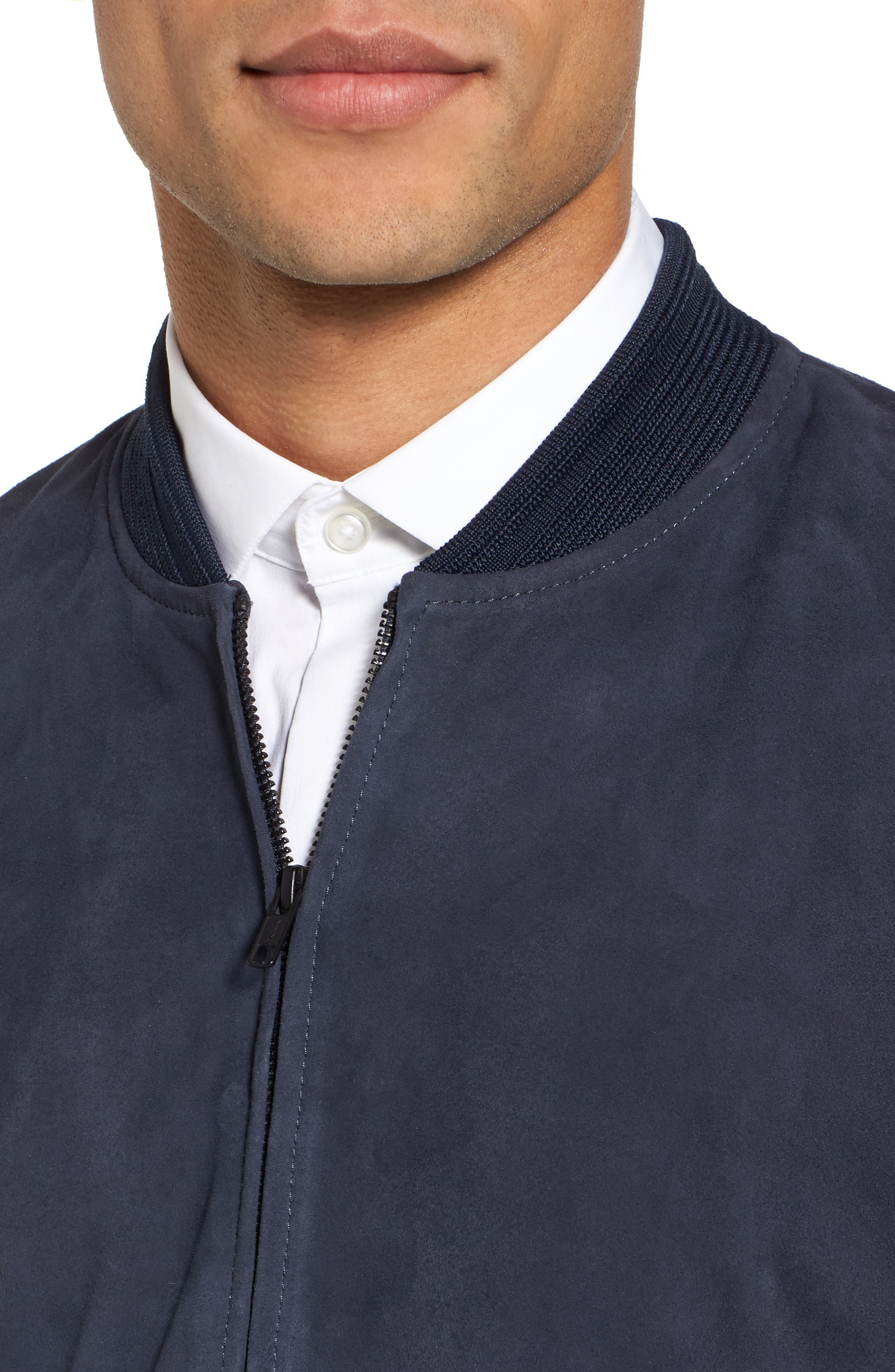 Suede Bomber Jacket,                             Alternate thumbnail 4, color,                             Navy Blue