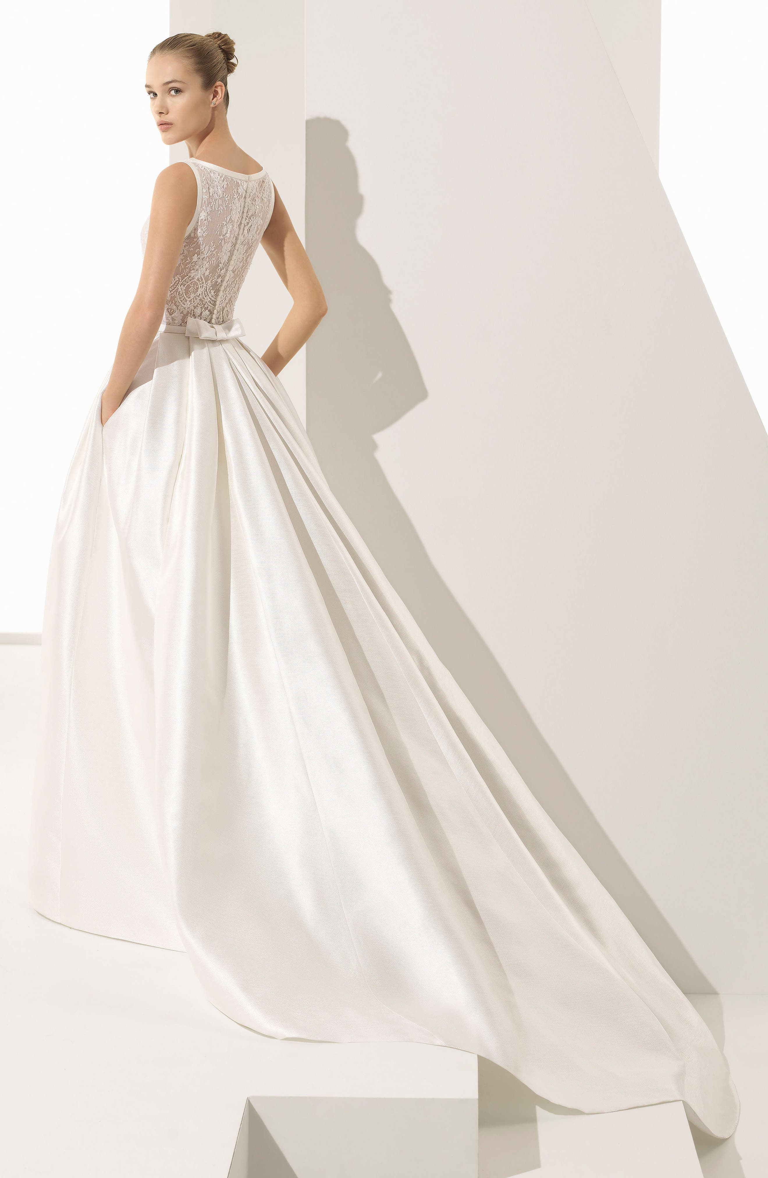 Parker Silk Blend Ballgown,                             Alternate thumbnail 4, color,                             Natural/ Nude