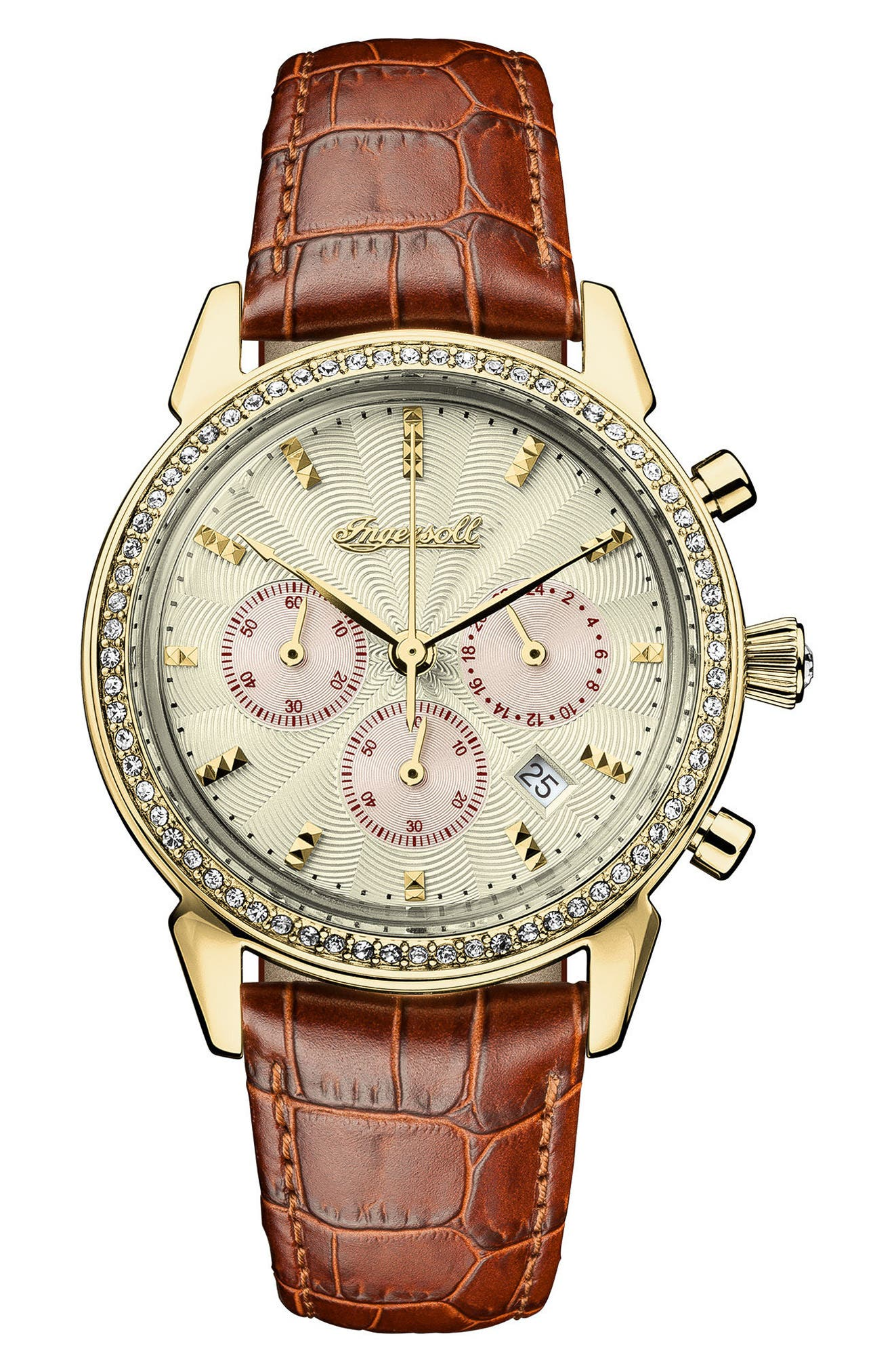 Ingersoll Crystal Accent Chronograph Leather Strap Watch, 35mm,                         Main,                         color, Tan/ Gold