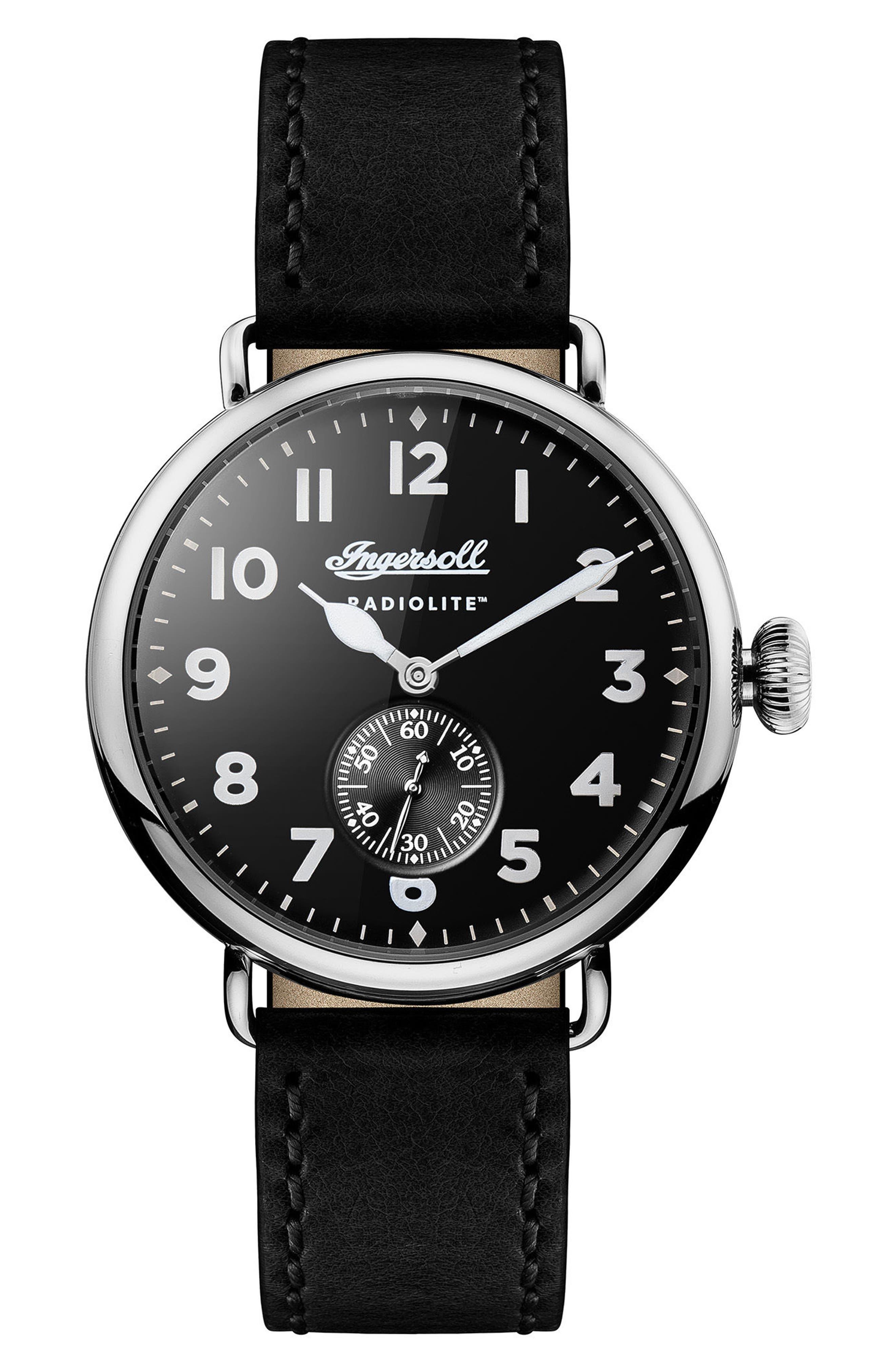 Main Image - Ingersoll Trenton Leather Strap Watch, 44mm