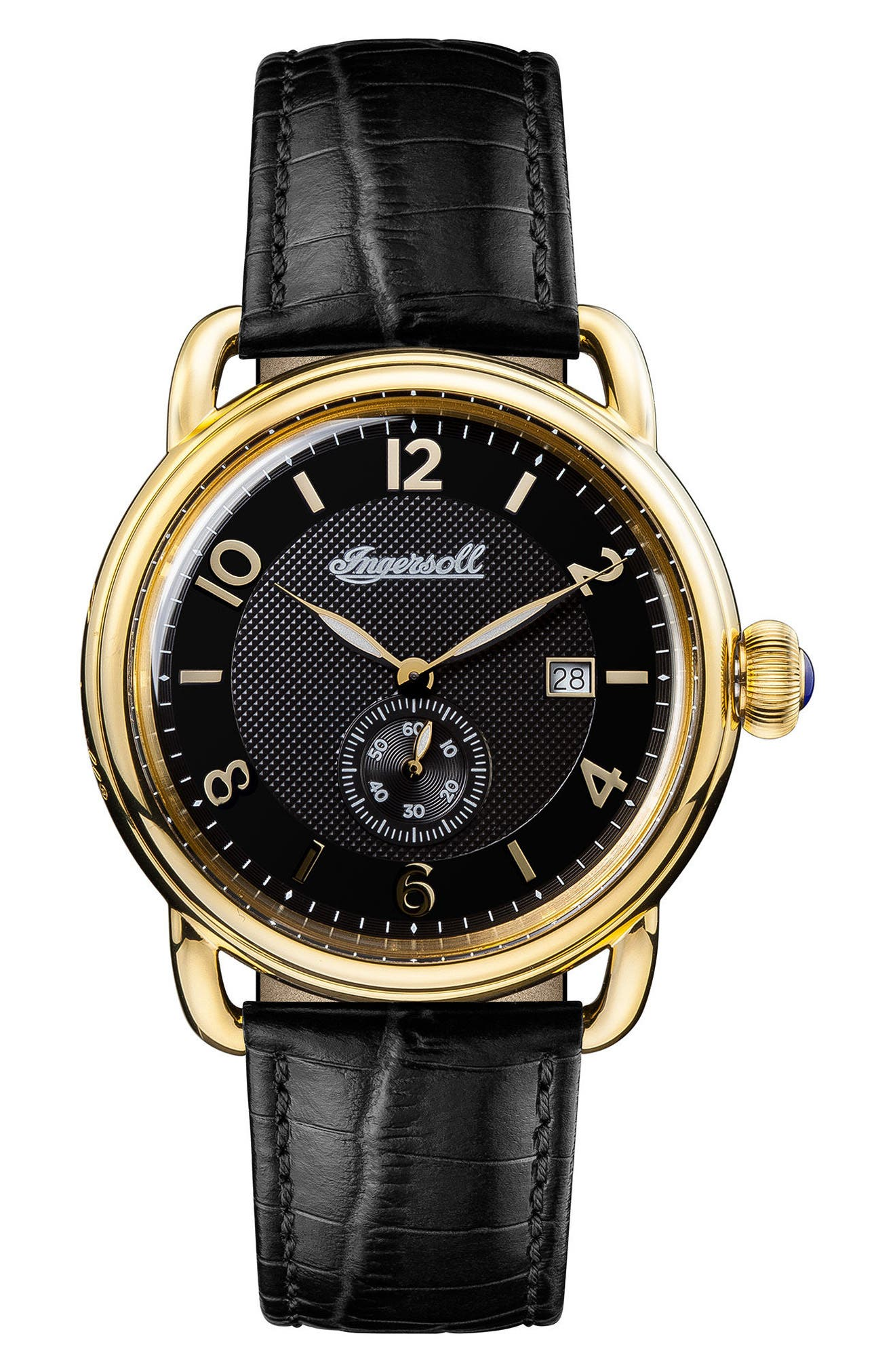 Ingersoll New England Leather Strap Watch, 42mm,                         Main,                         color, Black/ Gold