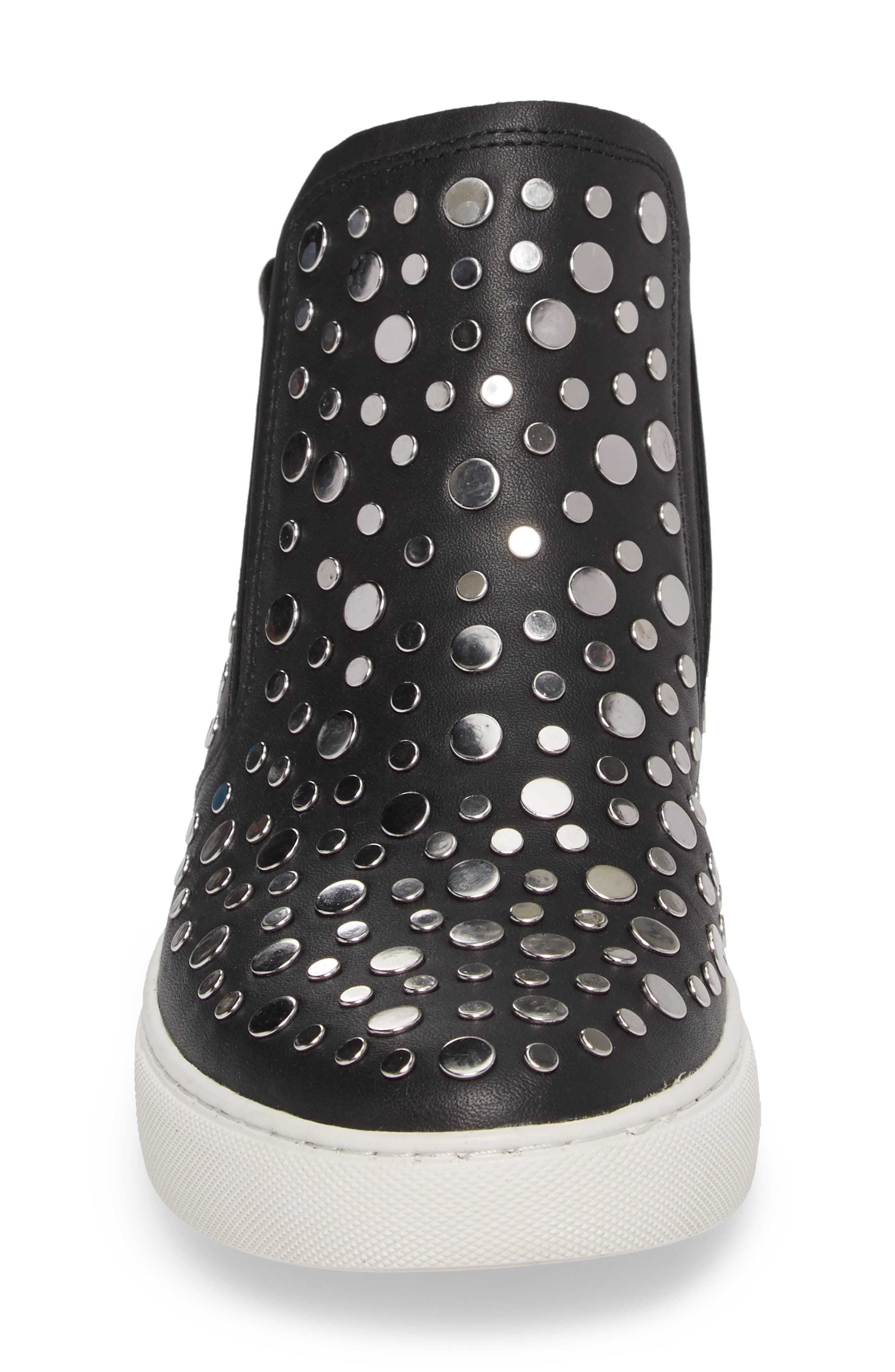 Kalvin Studded High Top Sneaker,                             Alternate thumbnail 4, color,                             Black Leather