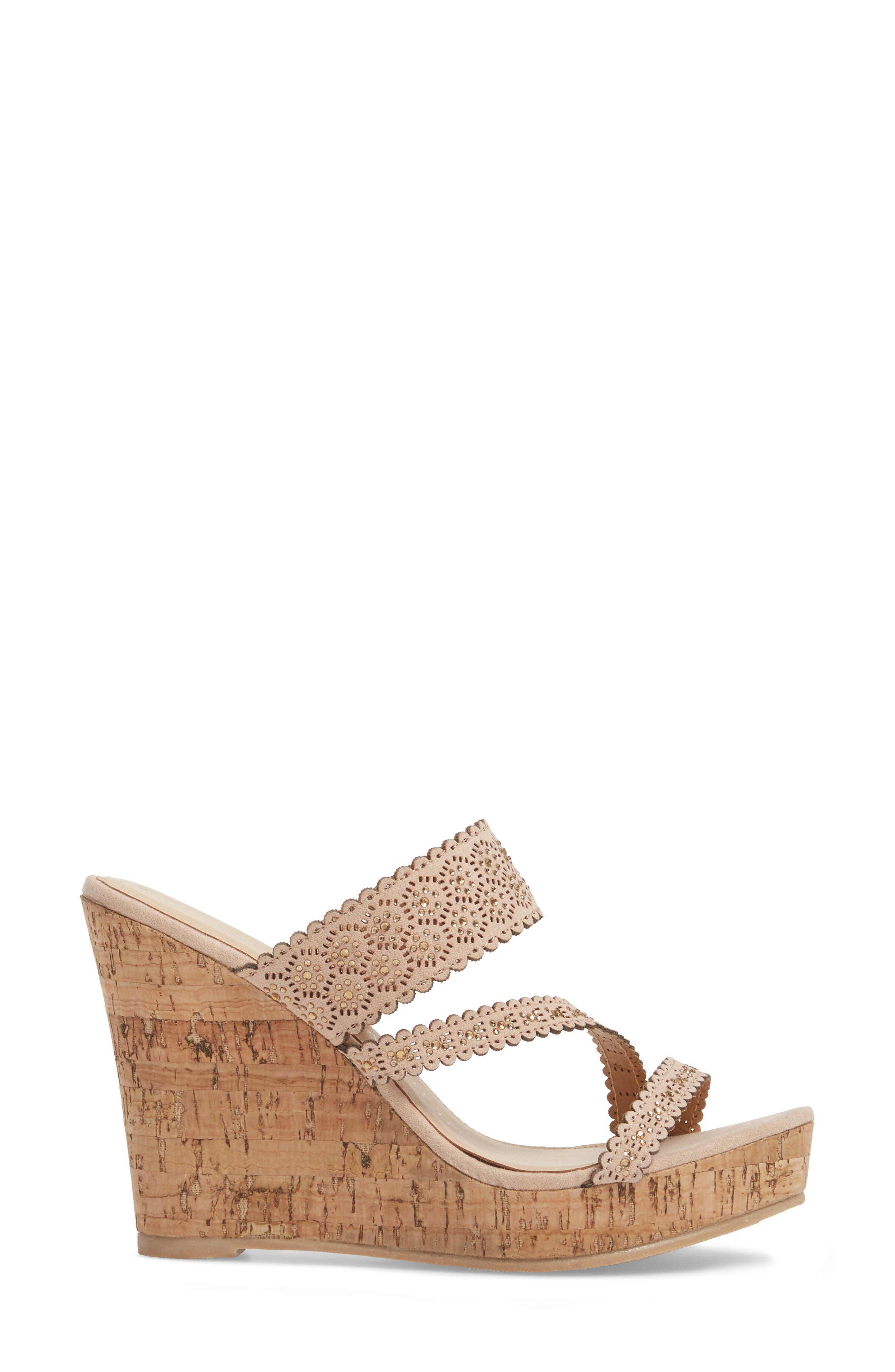 Aerin Embellished Wedge Sandal,                             Alternate thumbnail 3, color,                             Blush Suede